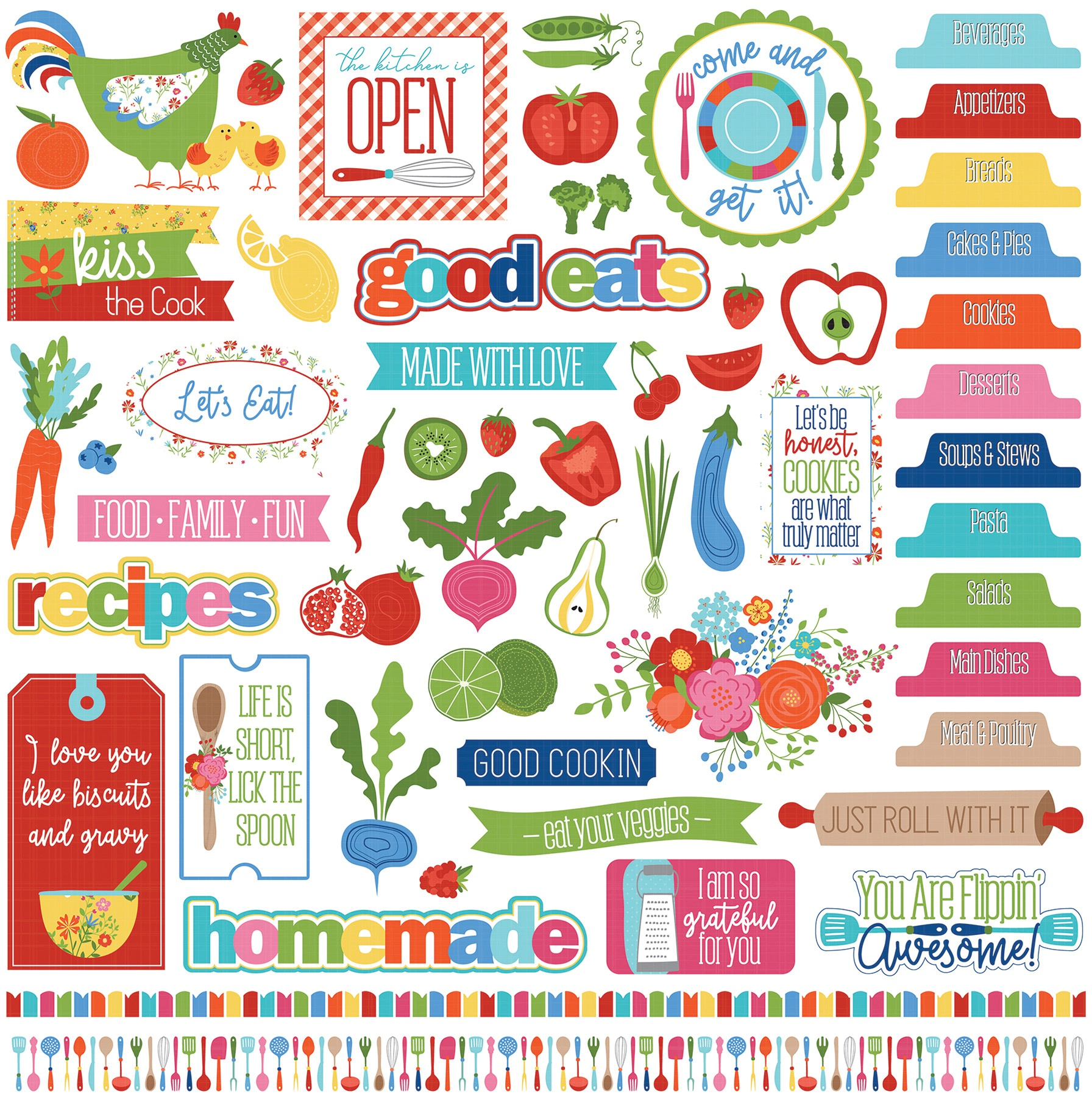 What's Cooking Stickers 12X12-Elements