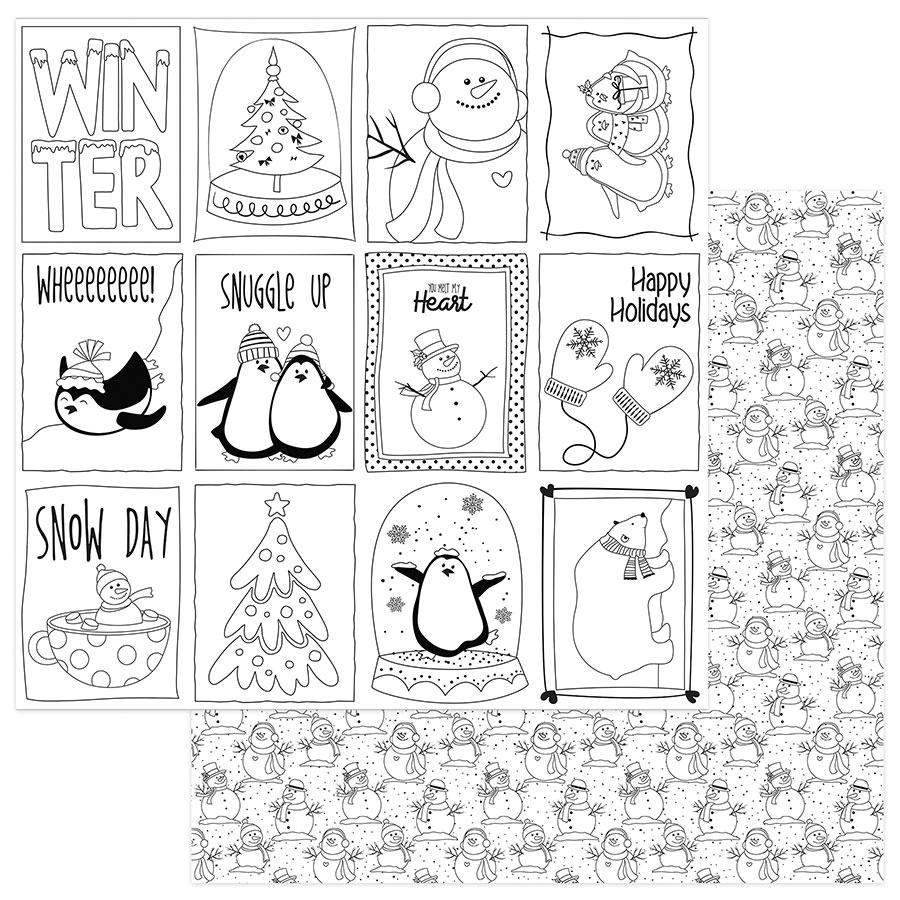 Frosty Friends Double-Sided Cardstock 12X12-Black & White Color Me Cards