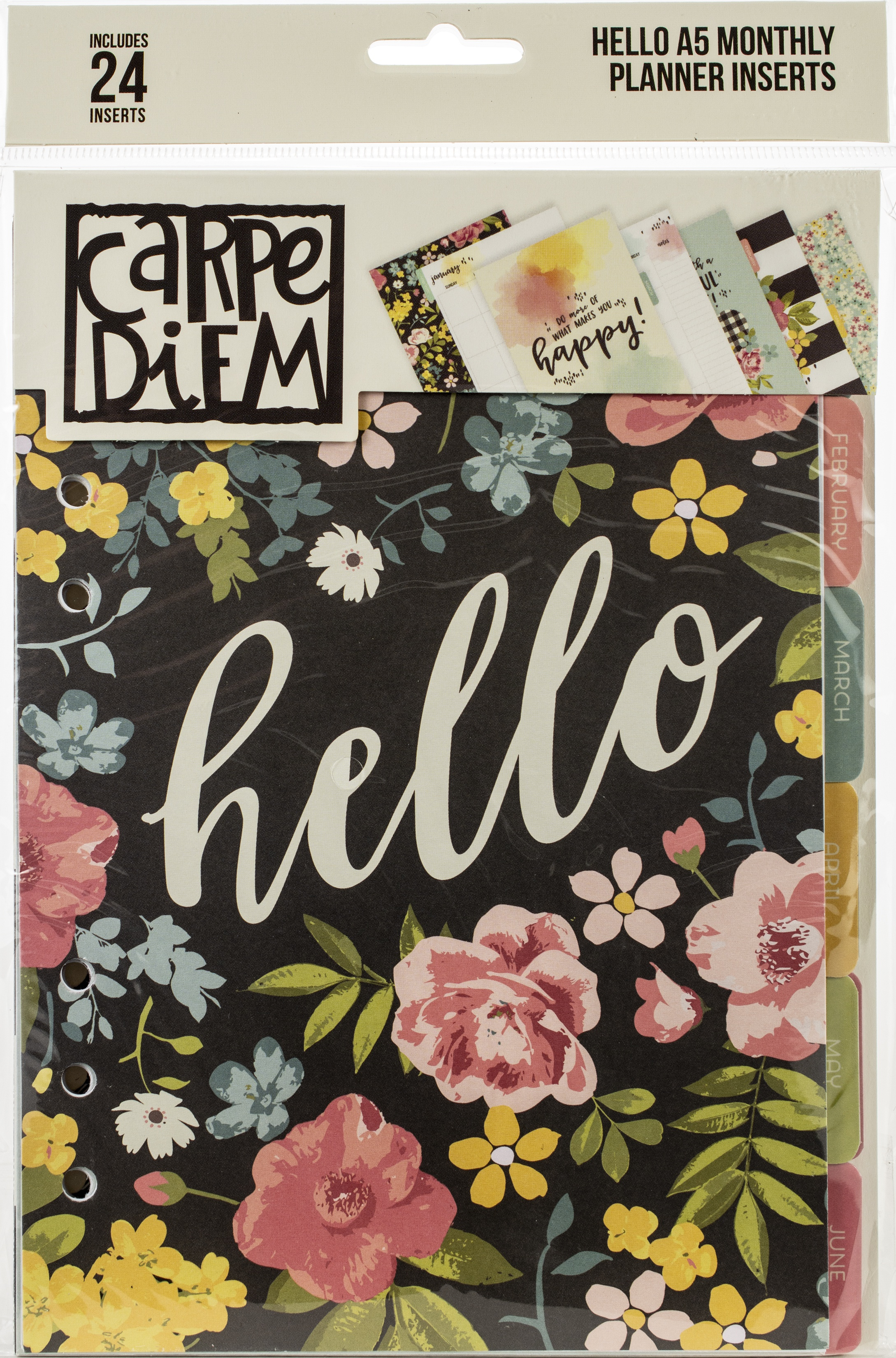 Carpe Diem Hello Double-Sided A5 Planner Inserts-Monthly, Undated
