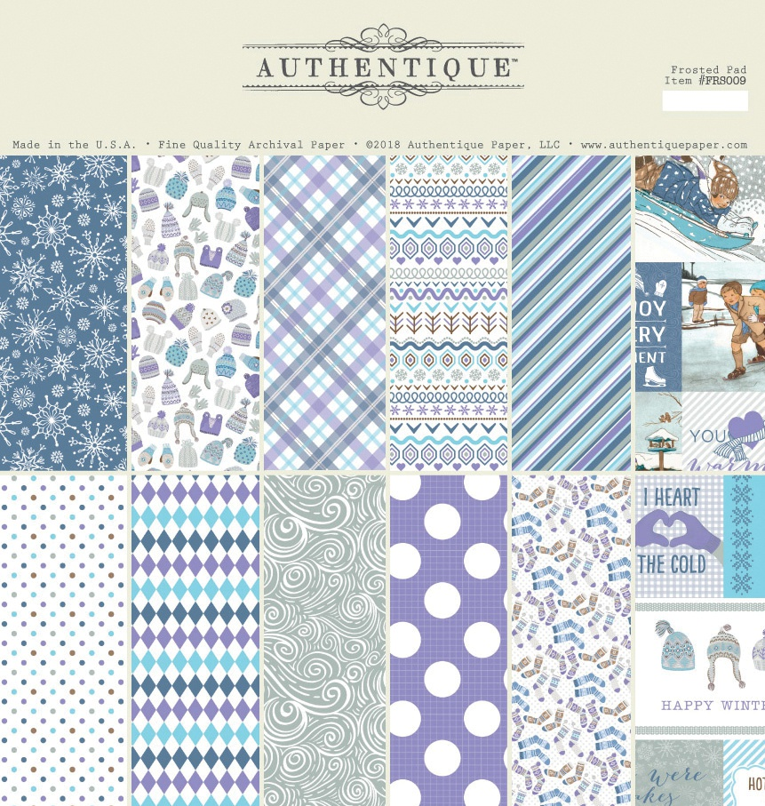 Authentique Double-Sided Cardstock Pad 12X12 18/Pkg-Frosted, 6 Designs/3 Each