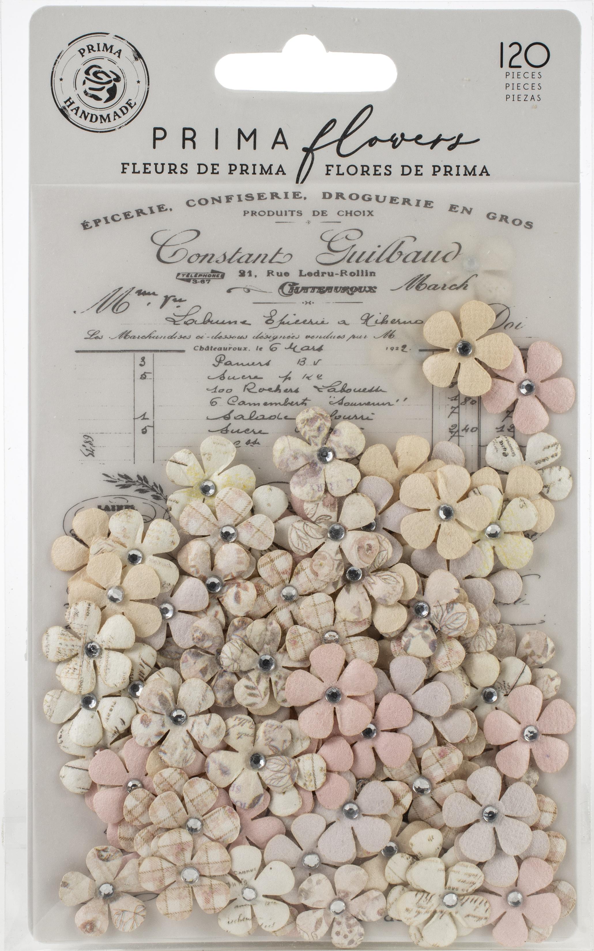 Prima Marketing Mulberry Paper Flowers  -Sweet Lavender/Lavender Frost, 120/Pkg