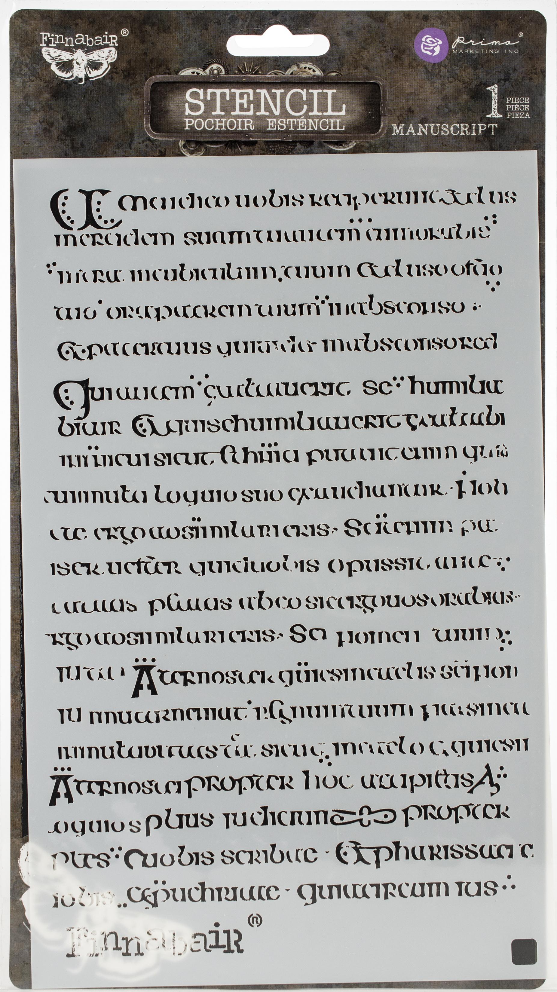 Finnabair Stencil 6X9-Manuscript