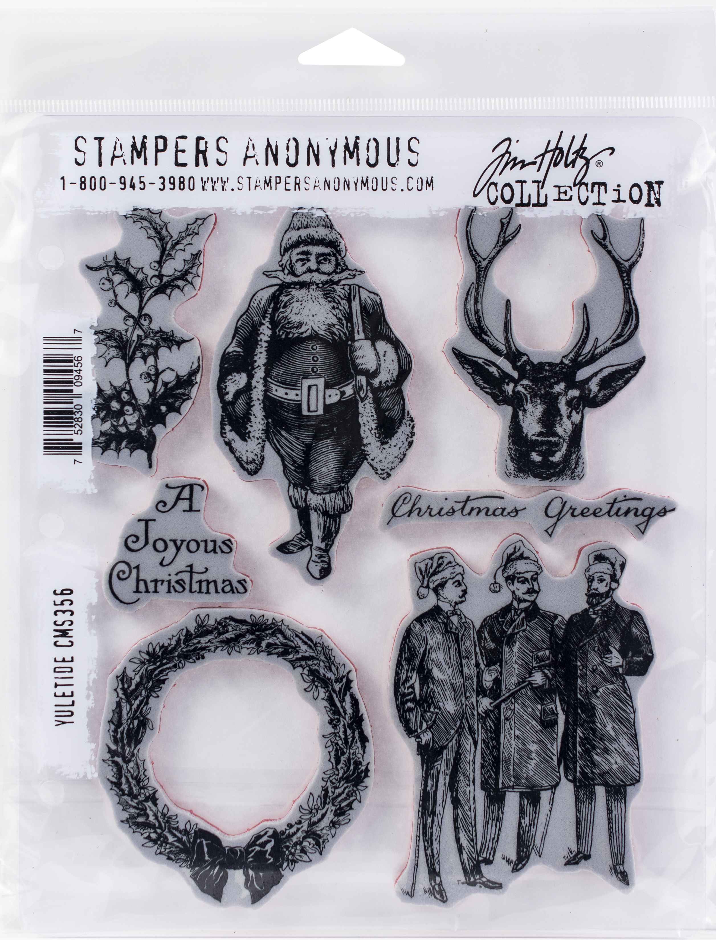 Tim Holtz Cling Stamps 7X8.5-Yuletide