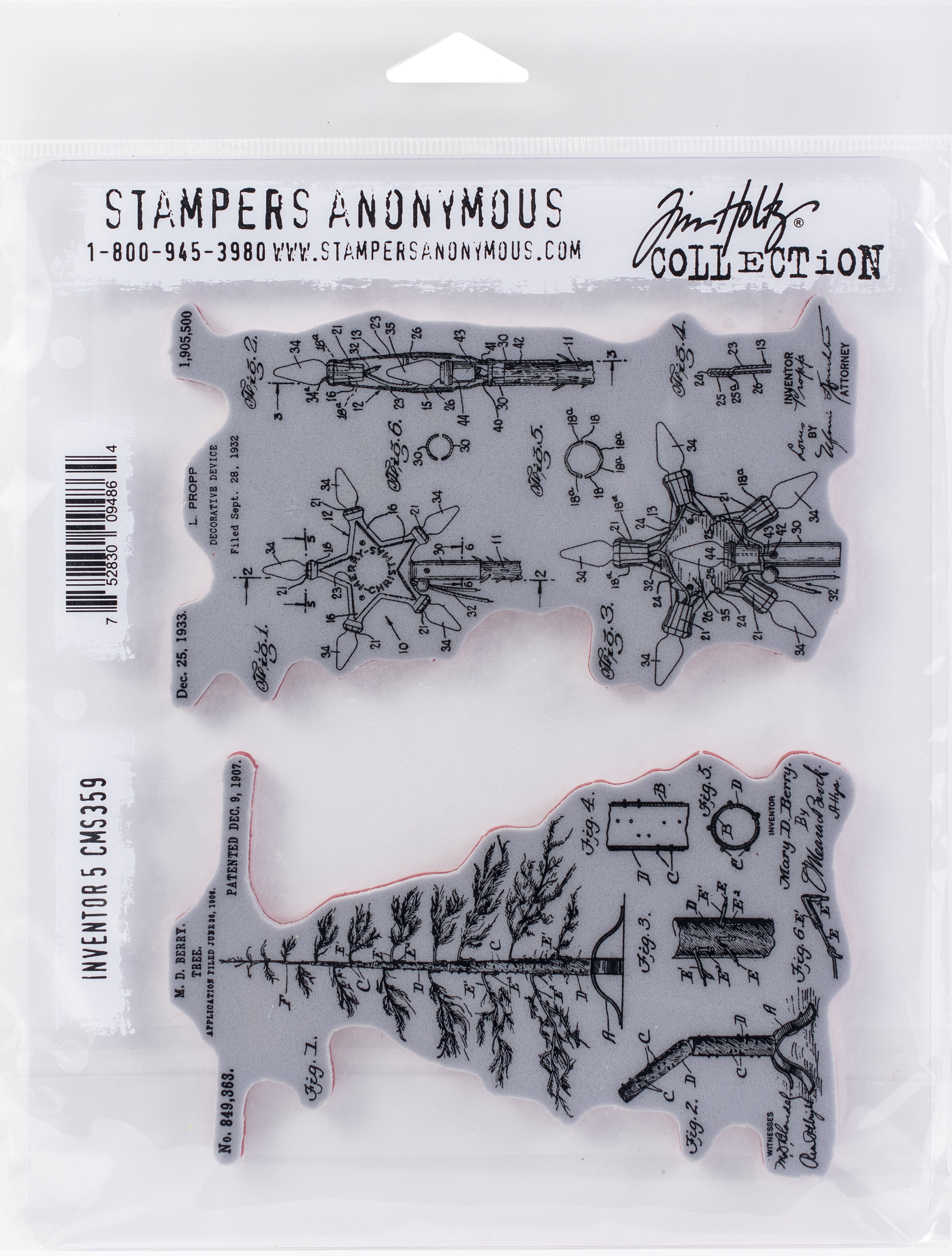 Tim Holtz Cling Stamps 7X8.5-Inventor #5