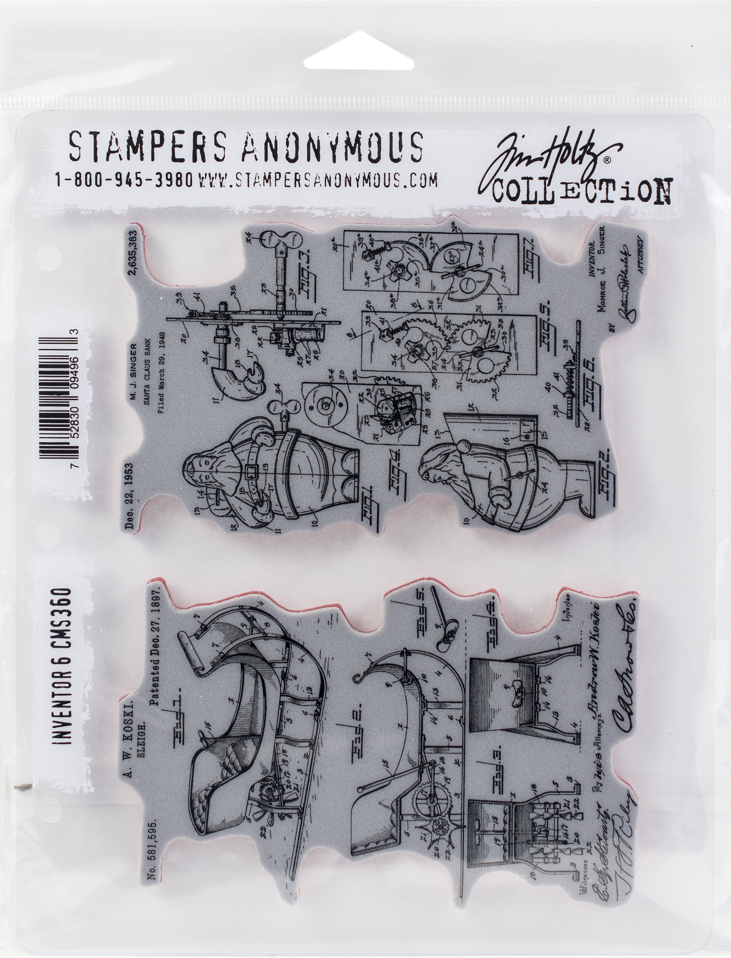 Tim Holtz Cling Stamps 7X8.5-Inventor #6