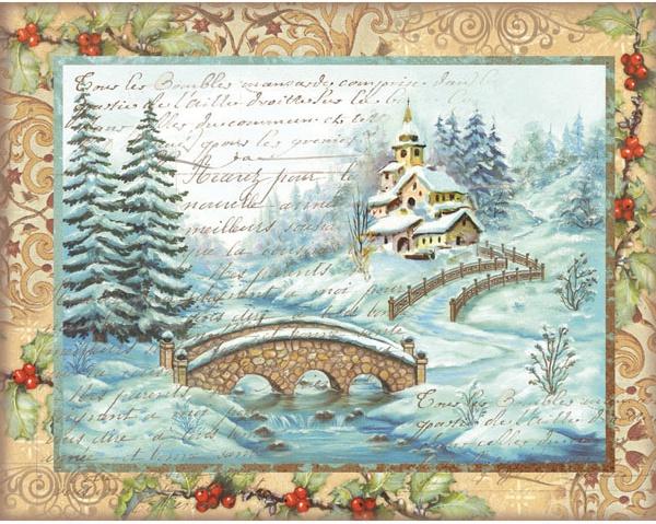 Stamperia Rice Paper Sheet A4-Christmas Bridge