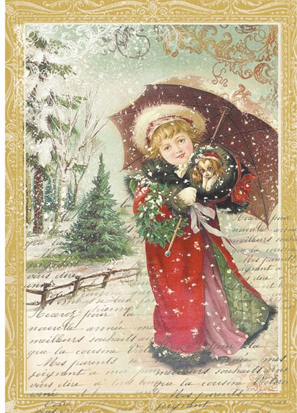 Stamperia Rice Paper Sheet A4-Little Girl W/Umbrella