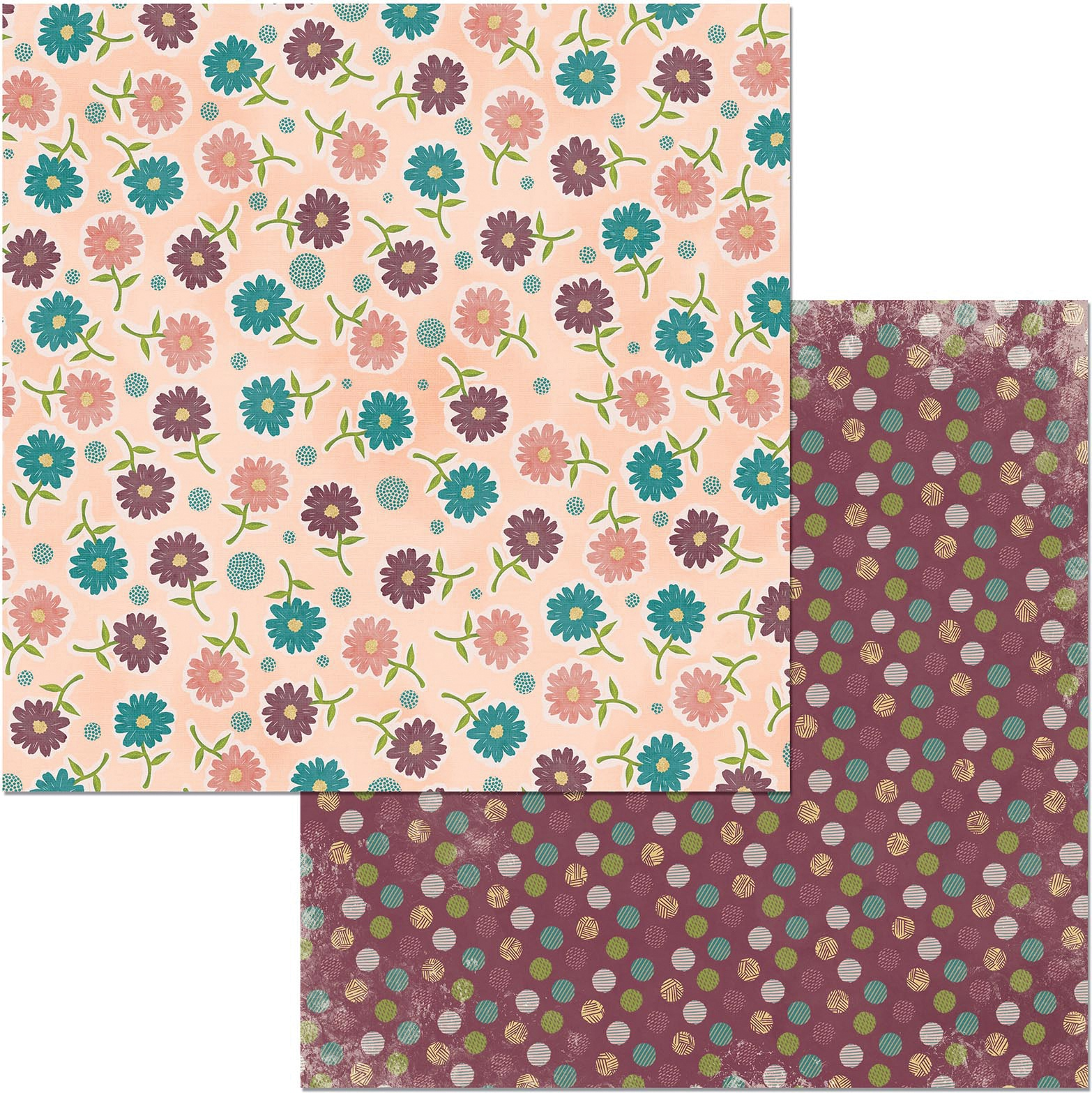 ^Floral Spice 12x12 Double-Sided Paper - Wonderful (Bo Bunny)