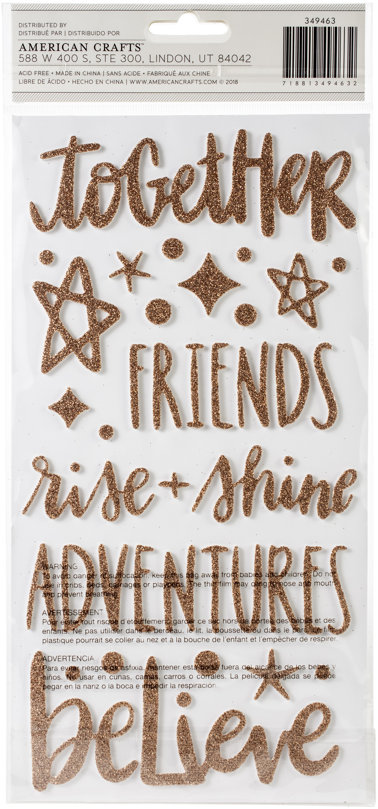 AC Adventurers Gold Glitter Thickers Letters
