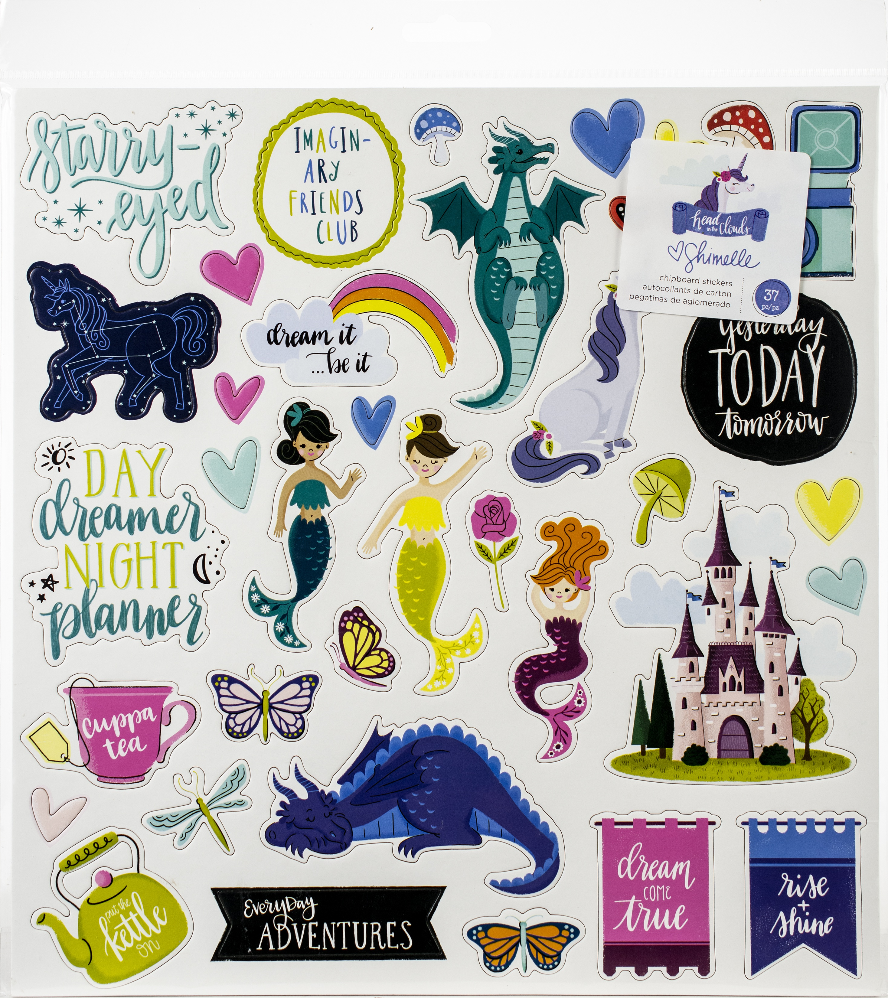 Shimelle Head In The Clouds Chipboard Stickers 12X12 37/Pk-W/Glitter Accents