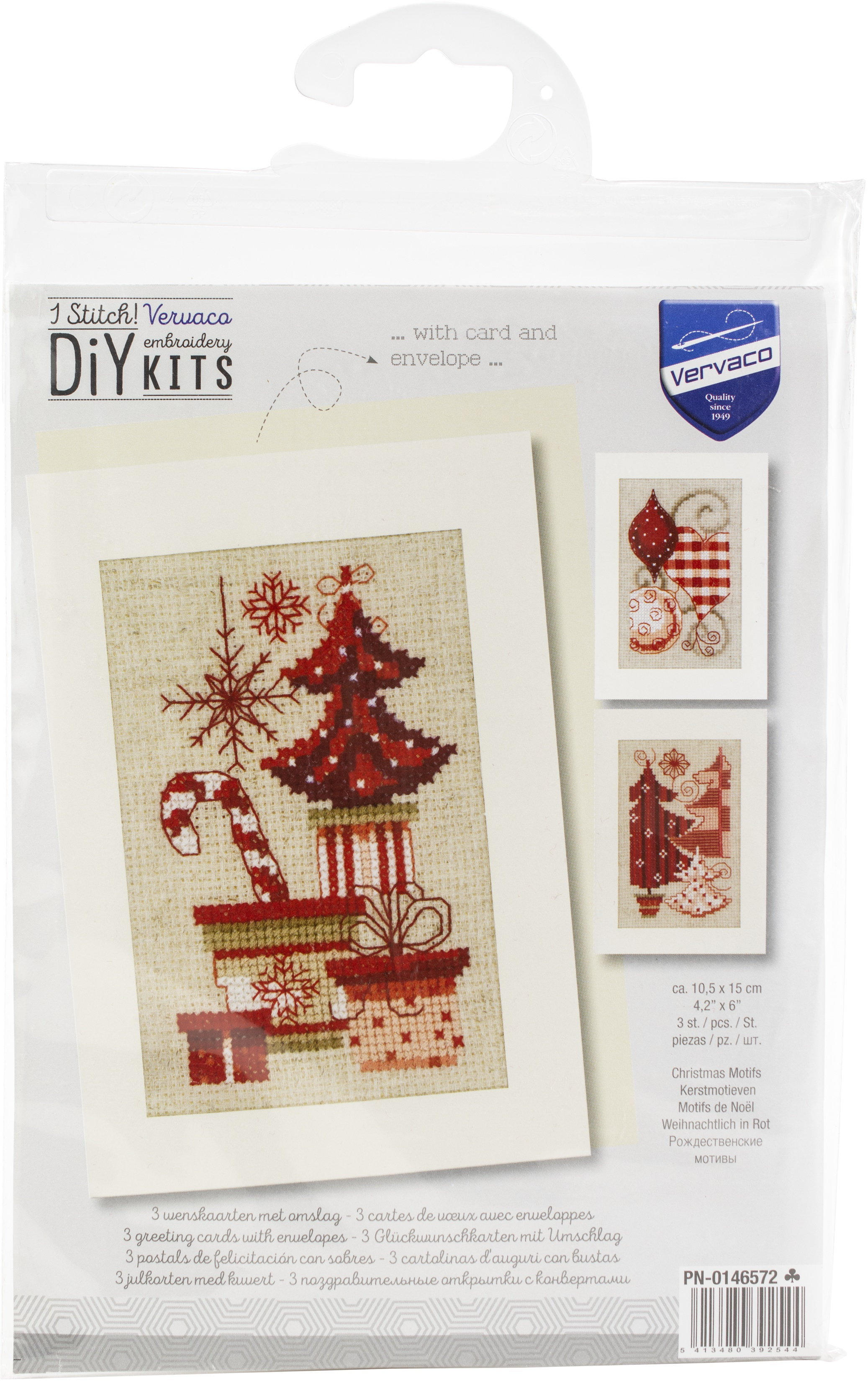 Vervaco Greeting Card Counted Cross Stitch Kit 4.25X6 3/Pk-Christmas Motifs On...