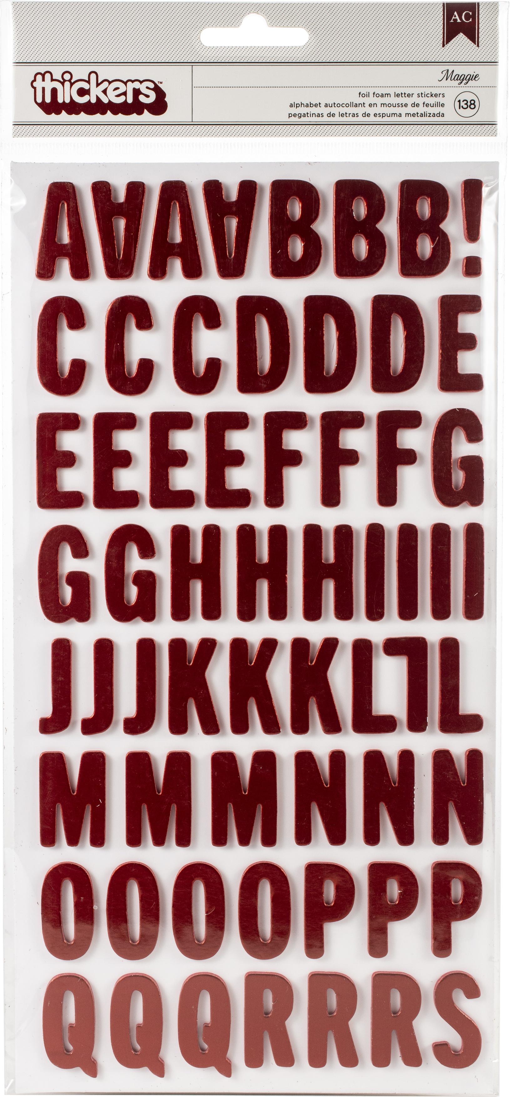 AC Maggie Red Foil Foam Letters