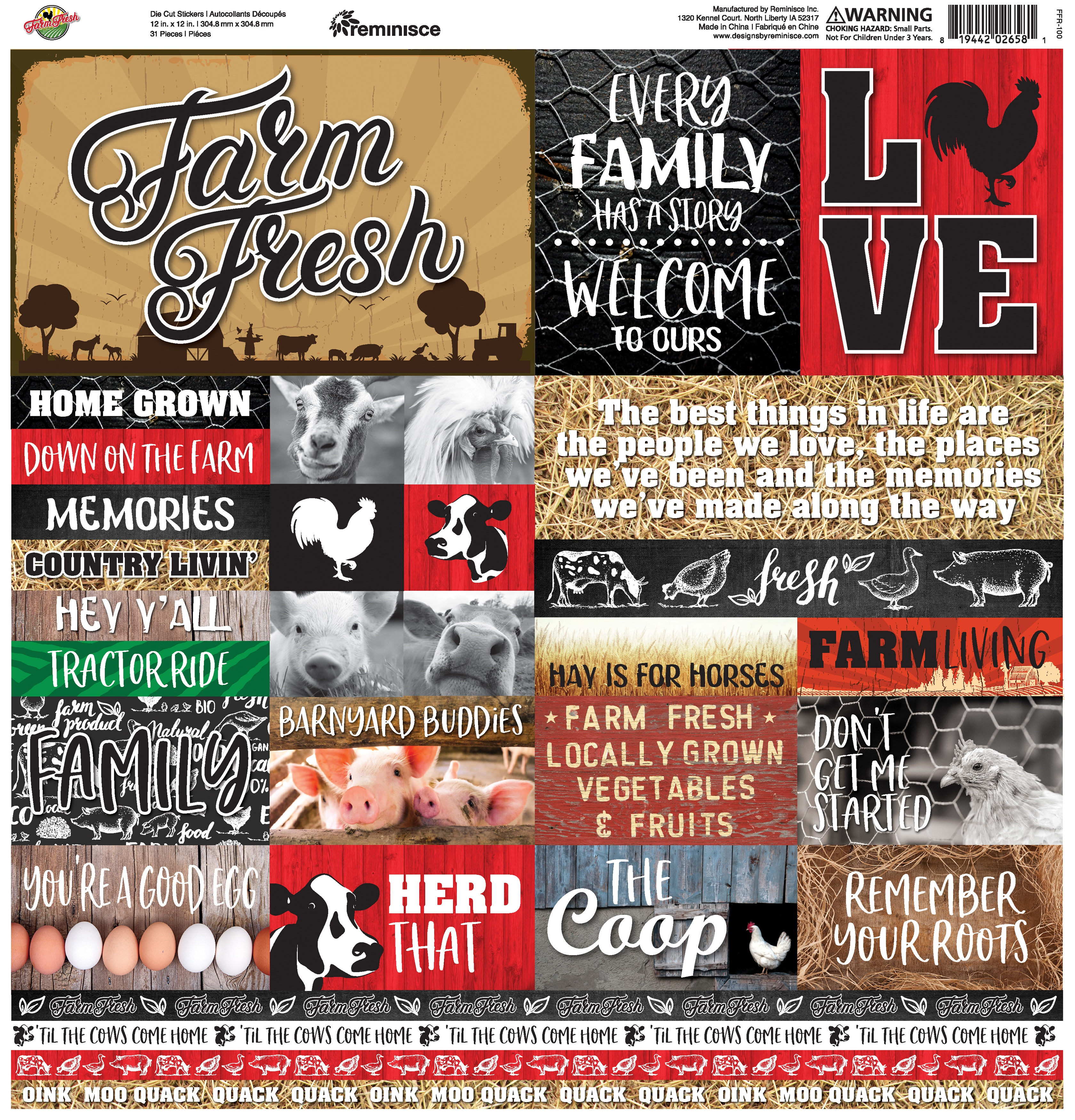 Farm Fresh Elements Stickers 12X12-