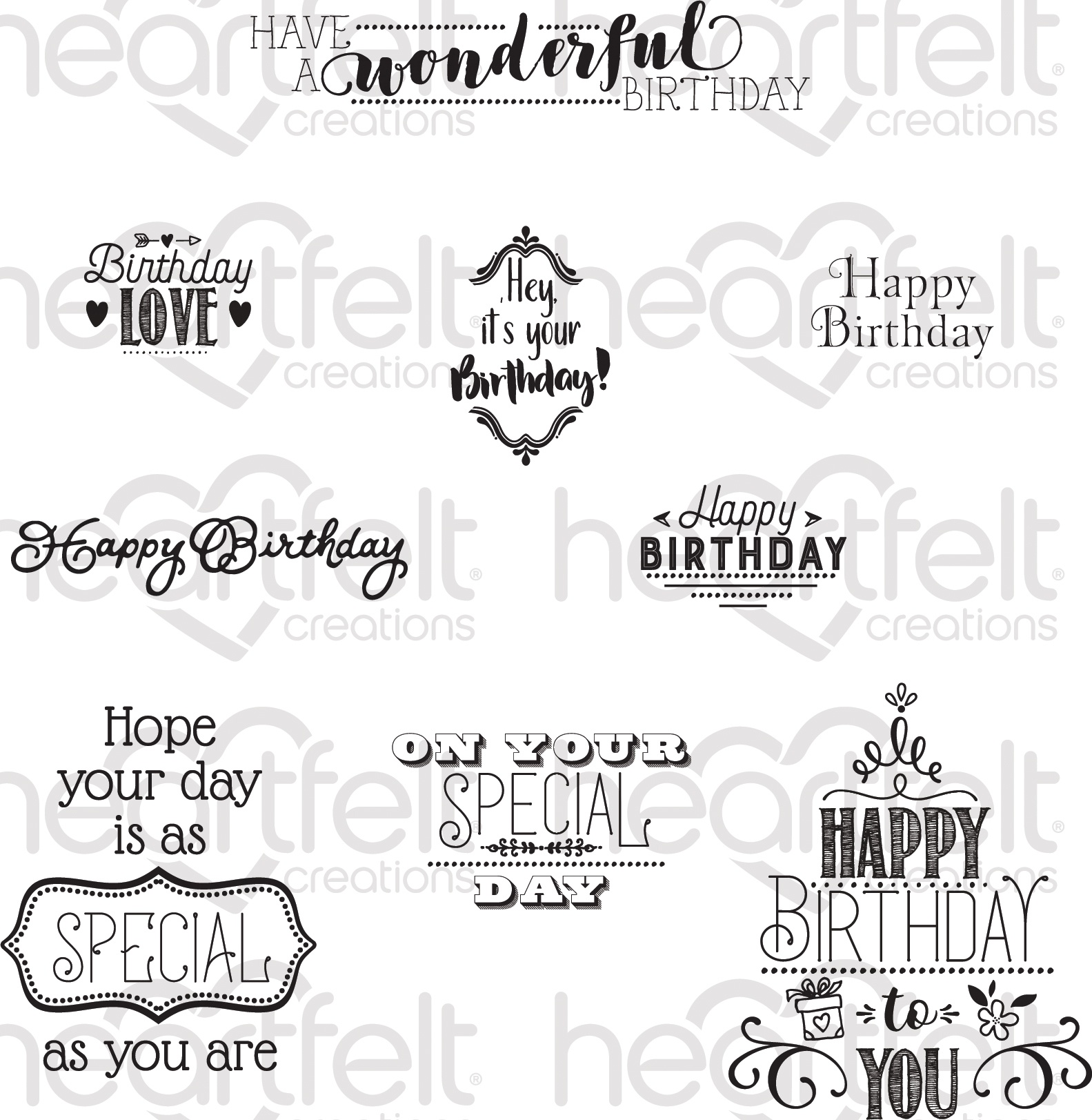 Heartfelt Creations special Birthday Sentiments Stamp