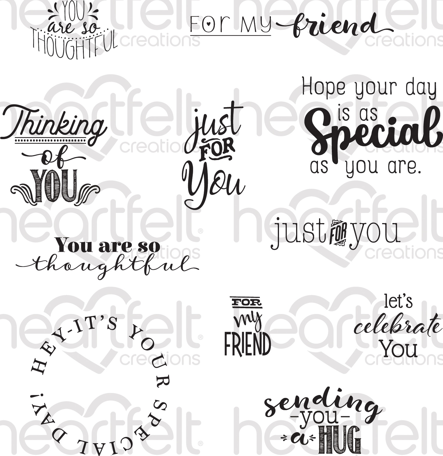 Heartfelt Creations Just for You Sentiments Stamp