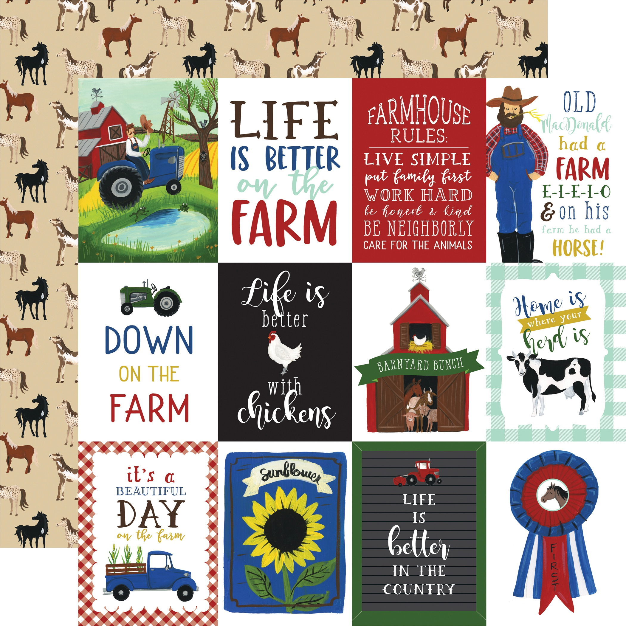Down On The Farm Double-Sided Cardstock 12X12-3X4 Journaling Cards