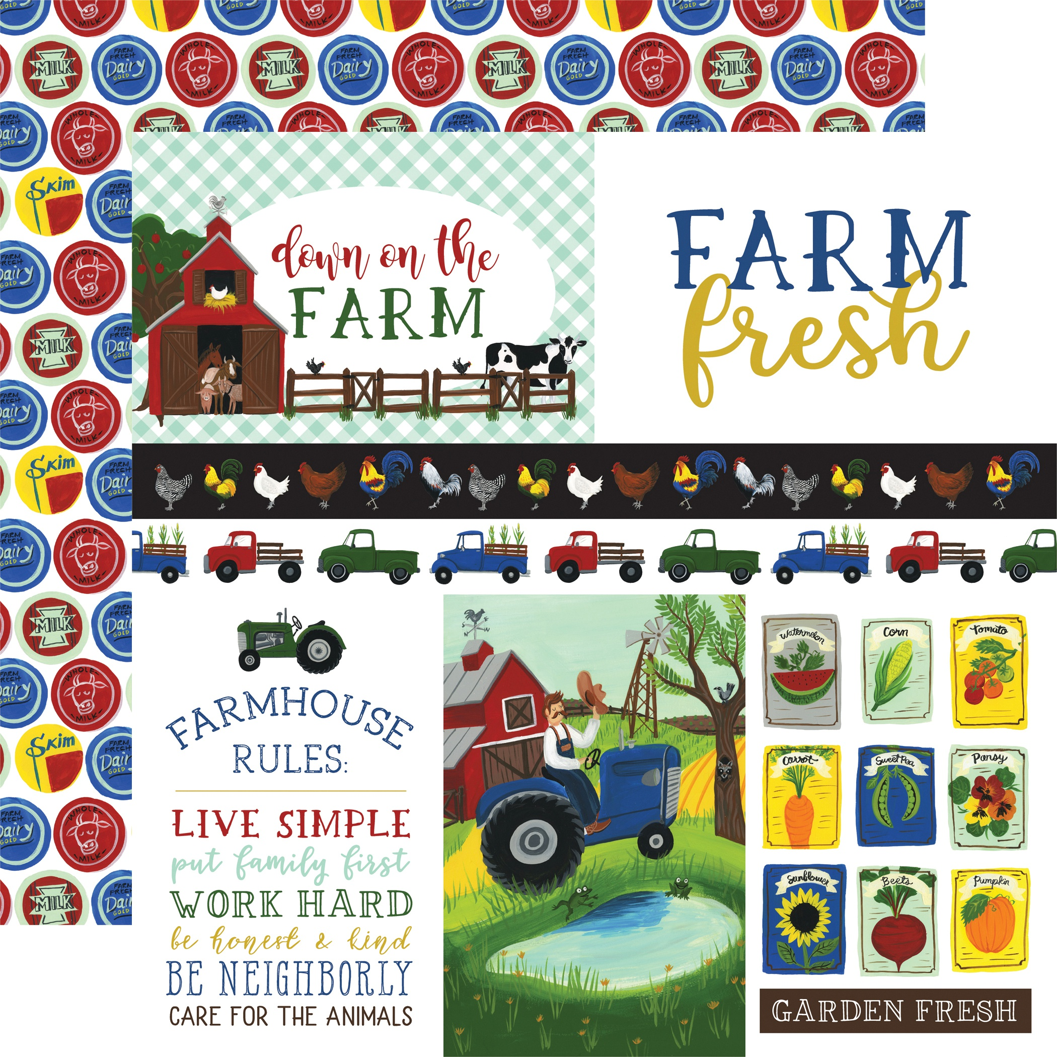 Down On The Farm Double-Sided Cardstock 12X12-Journaling Cards