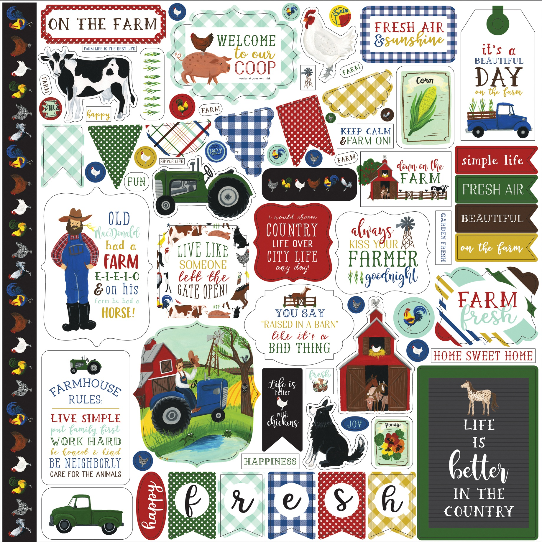 Down On The Farm Cardstock Stickers 12X12-Elements