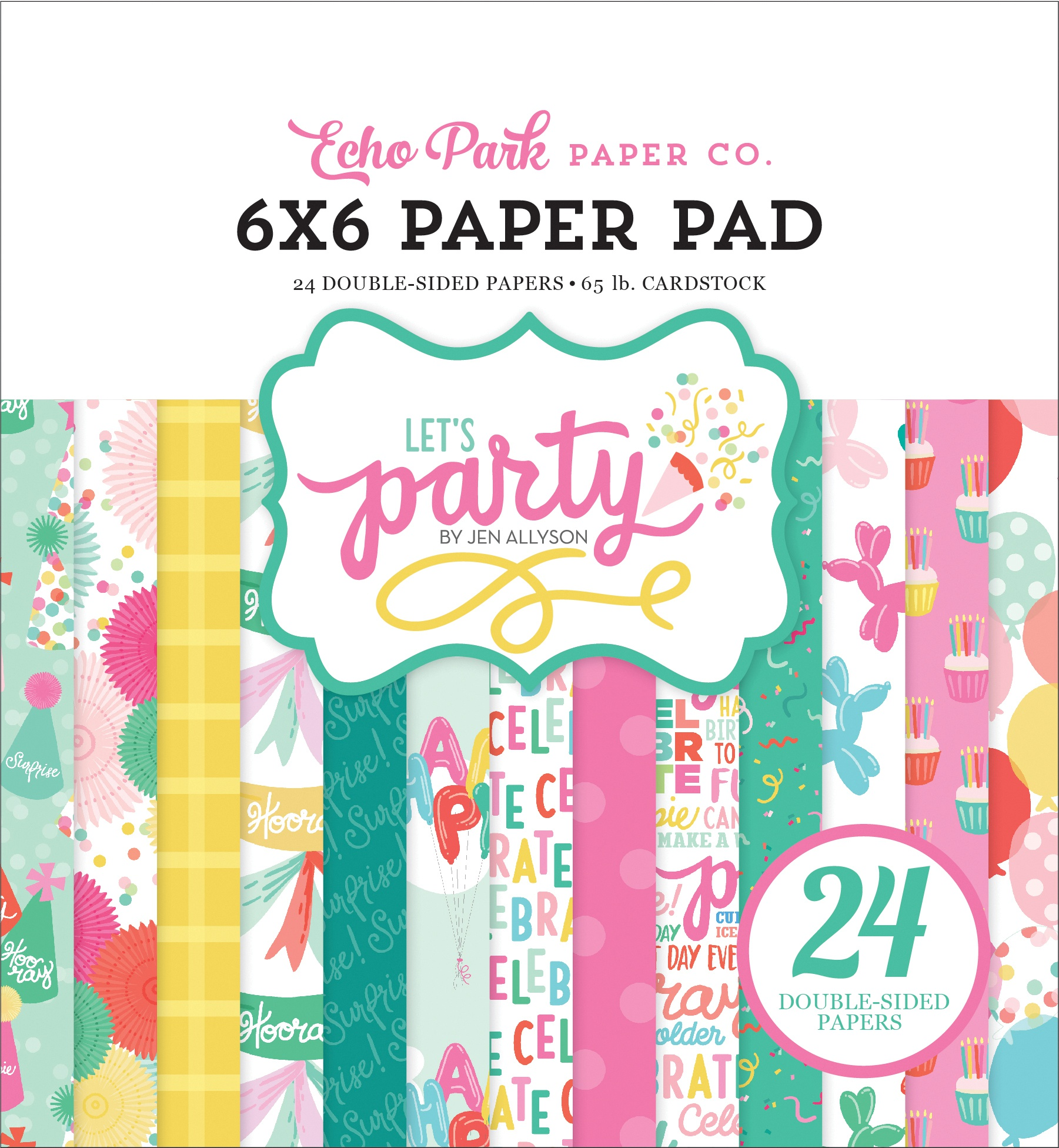 Echo Park Double-Sided Paper Pad 6X6 24/Pkg-Let's Party, 12 Designs/2 Each