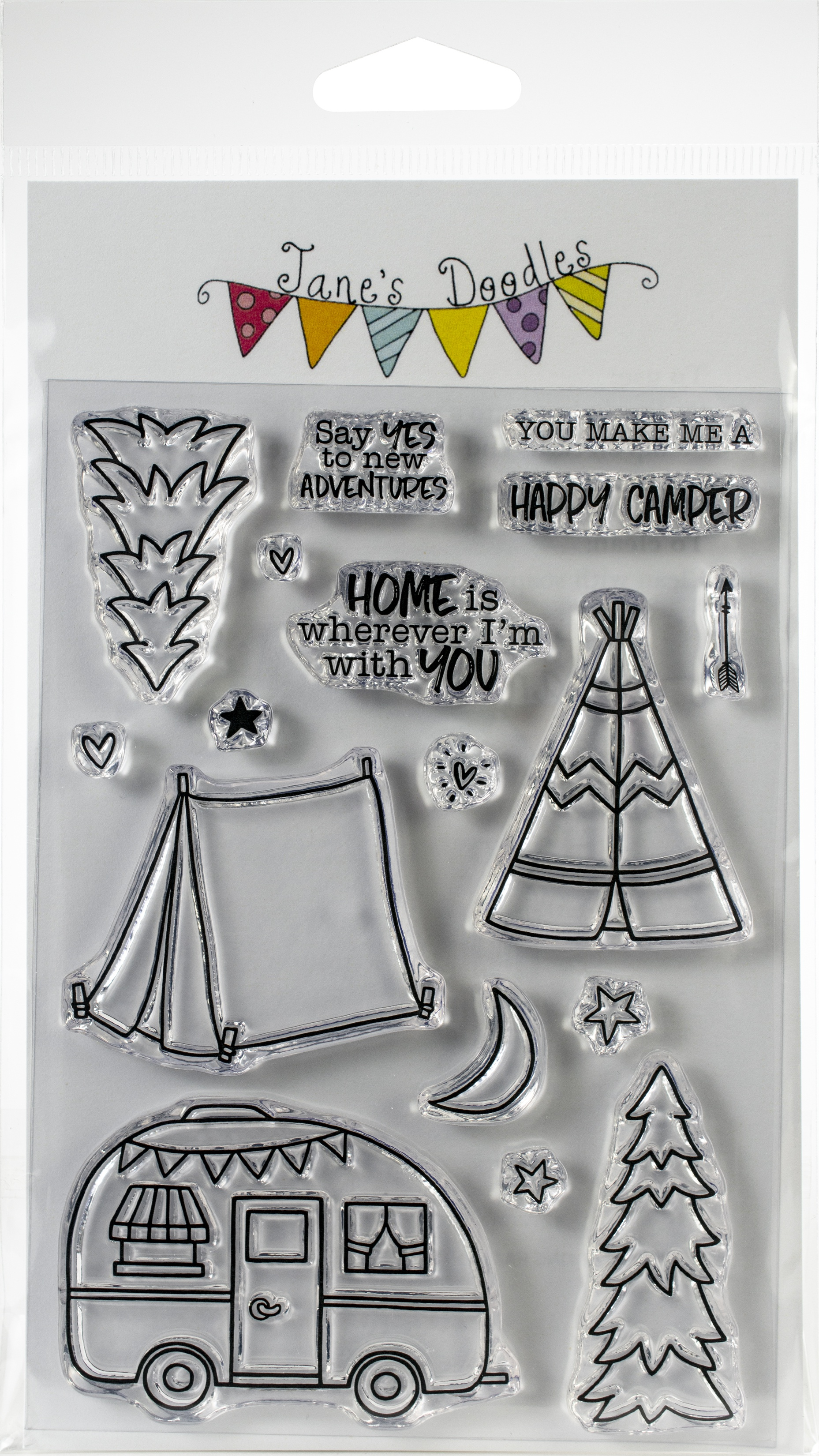 Jane's Doodles Clear Stamps 4X6-Happy Camper