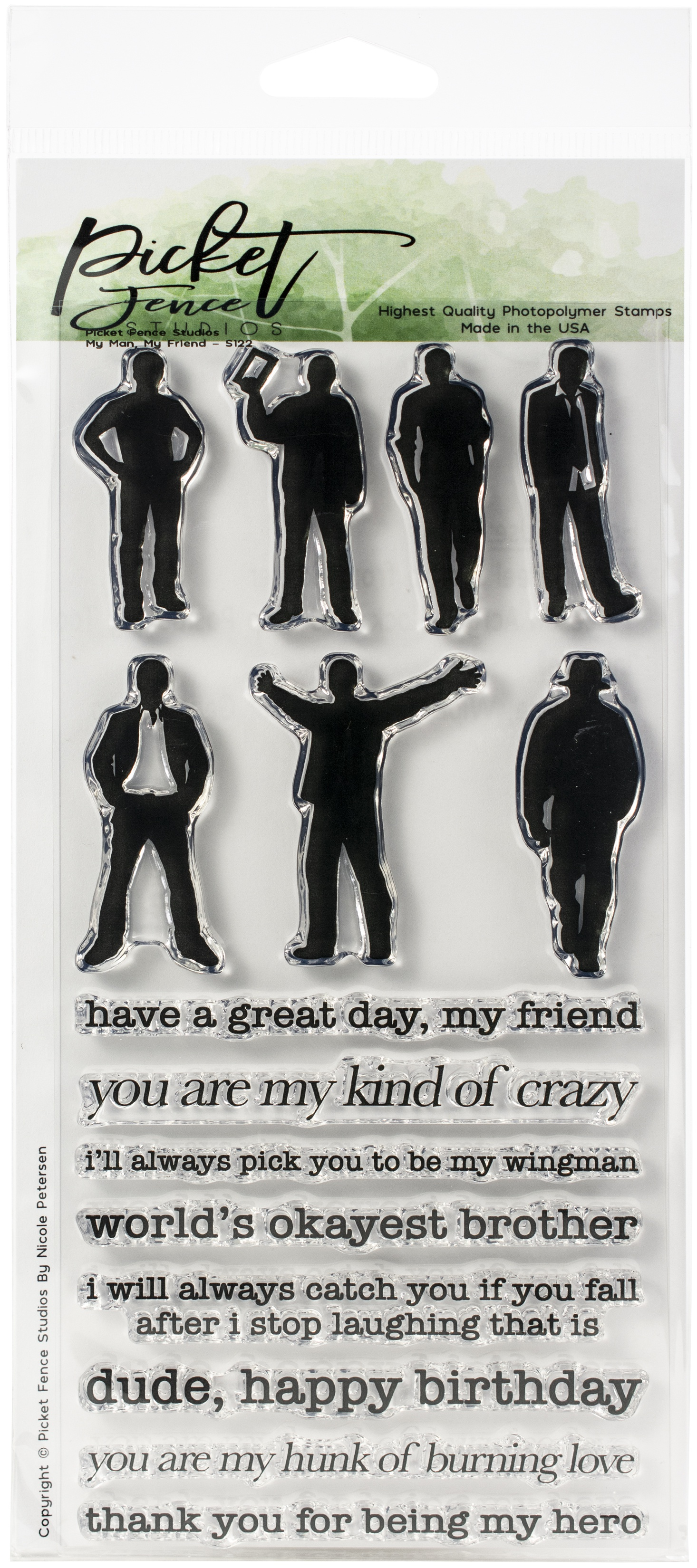 Picket Fence Studios 4X8 Stamp Set-My Man, My Friend