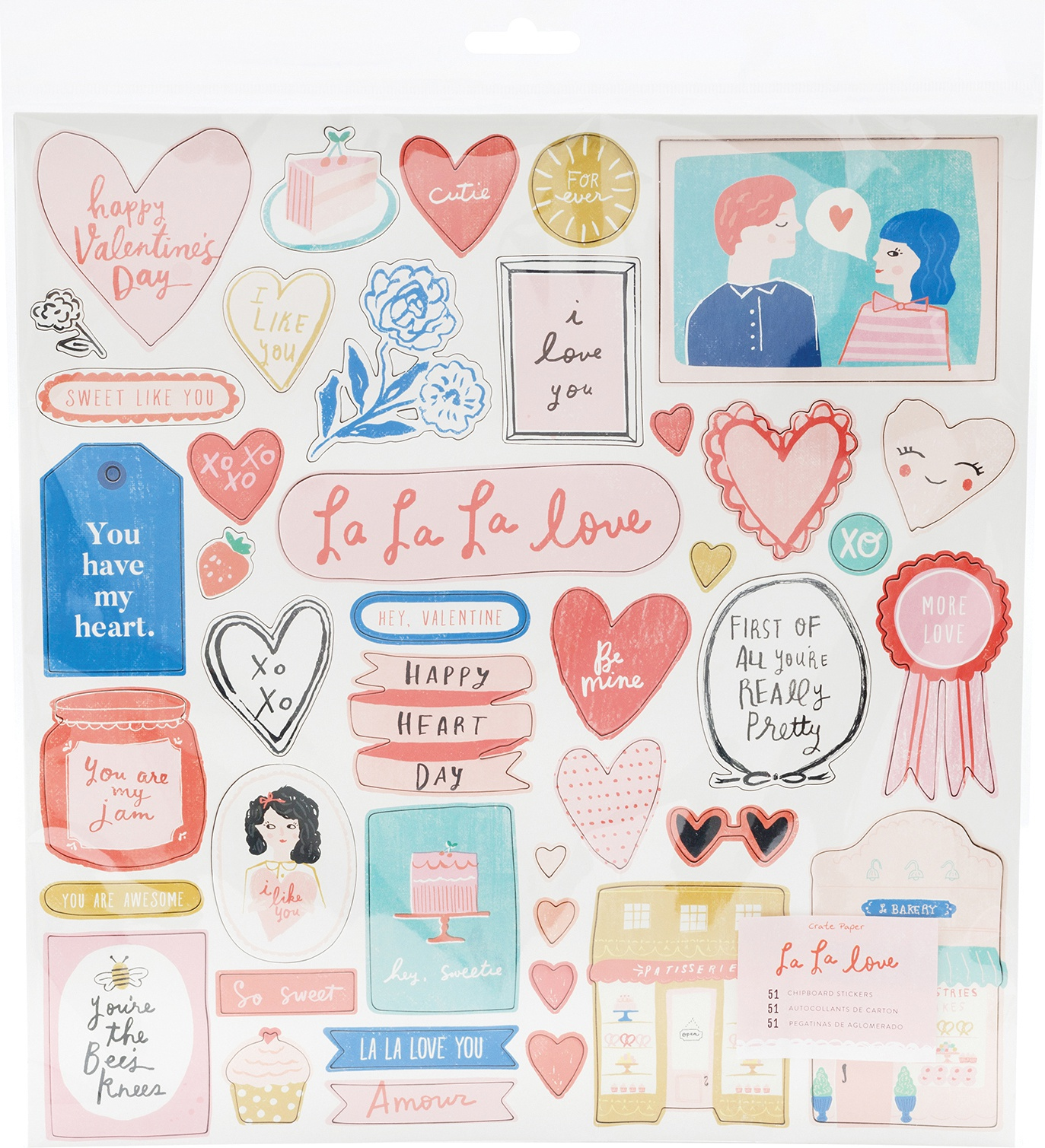 La La Love Chipboad Stickers