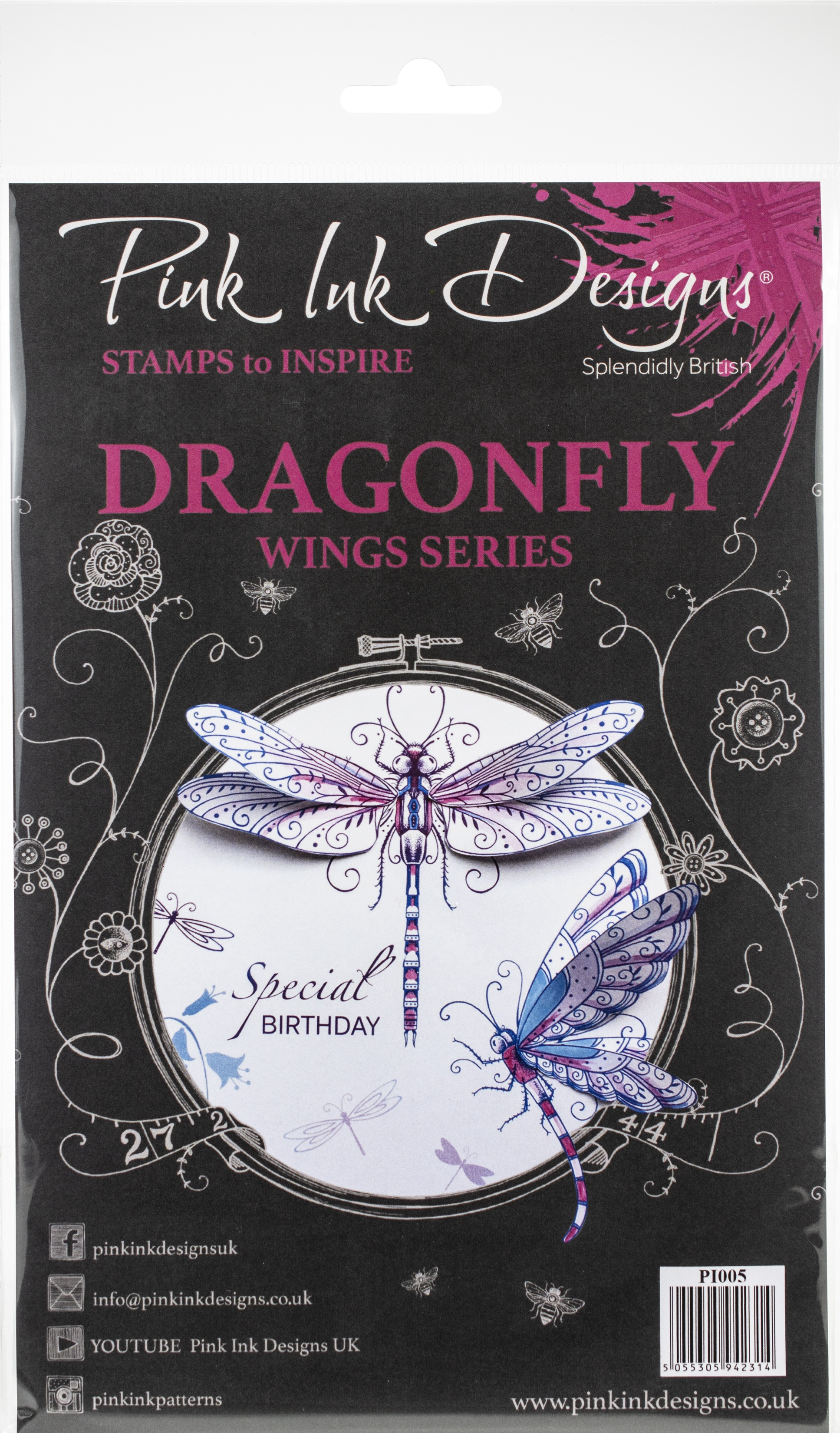 Pink Ink Designs A5 Clear Stamp Set-Dragonfly