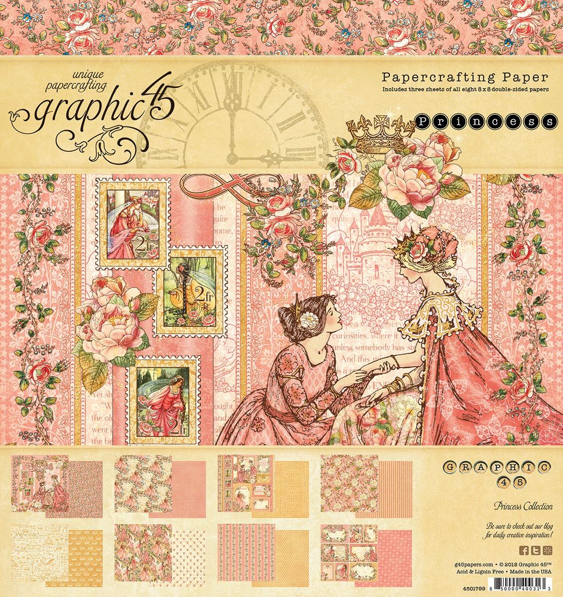 Graphic 45 Double-Sided Paper Pad 8X8 24/Pkg-Princess, 8 Designs/3 Each