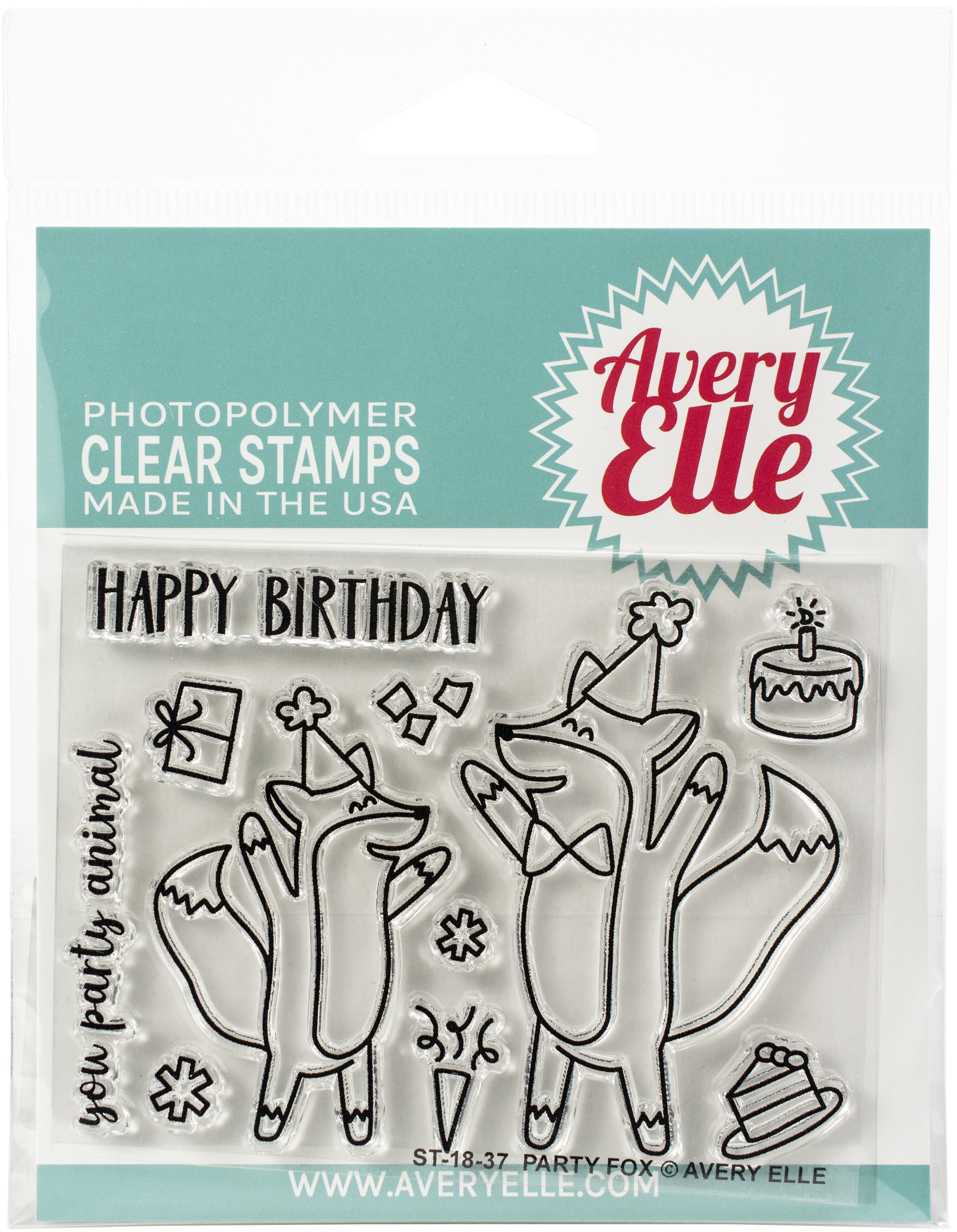 Avery Elle Clear Stamp Set 4X3-Party Fox