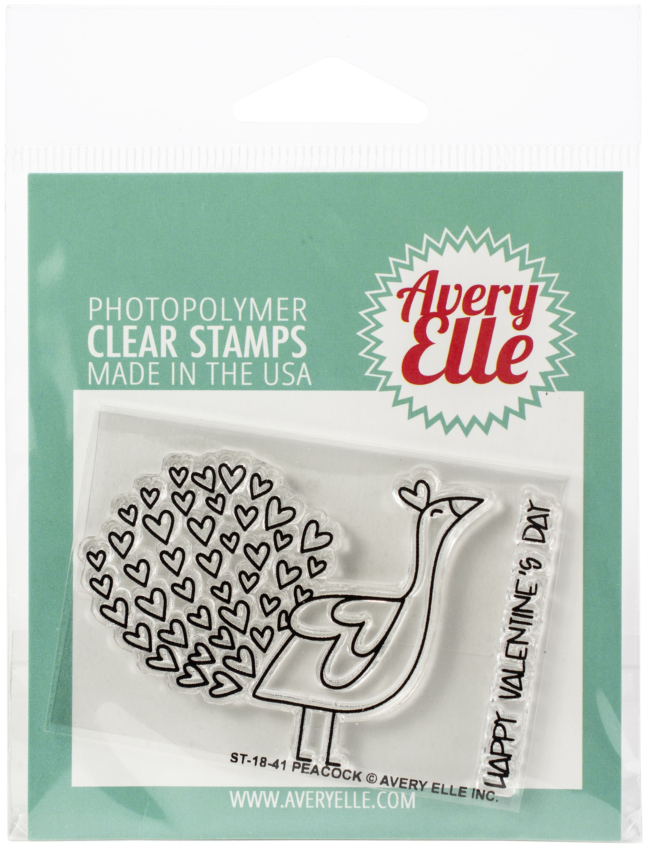 Avery Elle Clear Stamp Set 2X3-Peacock