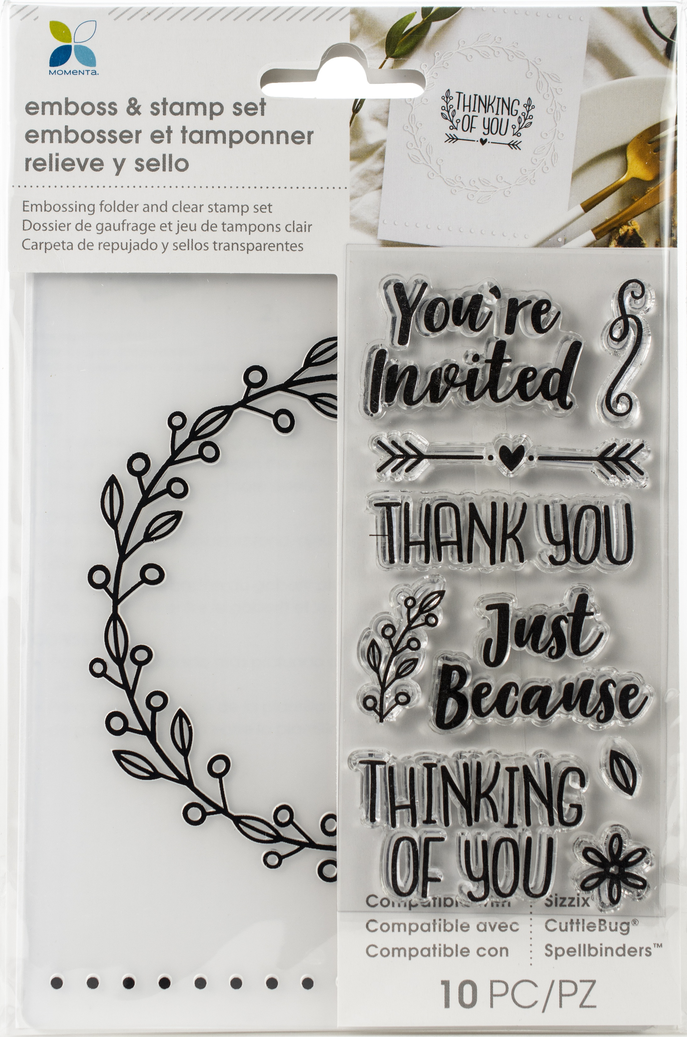 Momenta Embossing Folder & Stamp Set-You Are Invited