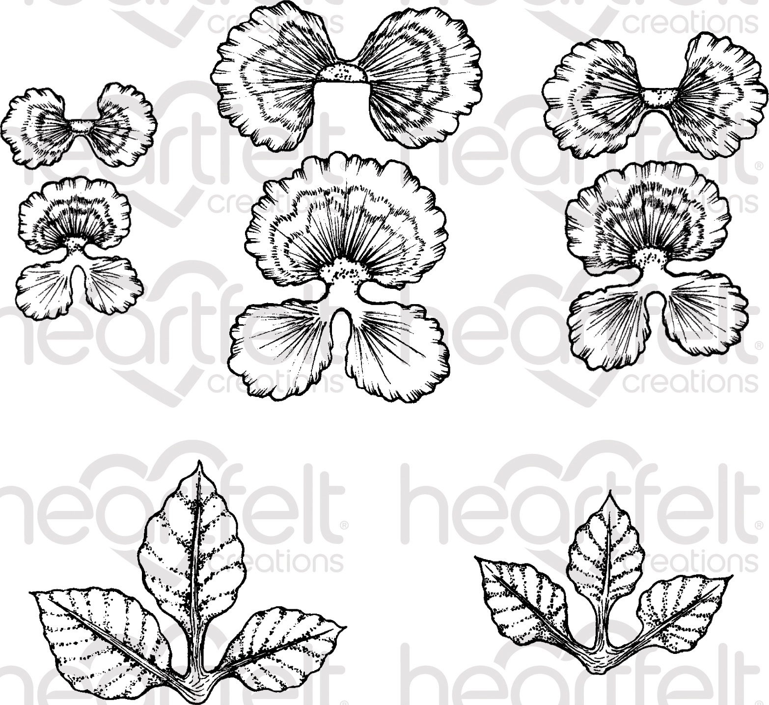 Heartfelt Creations Cling Rubber Stamp and die Set-Burst Of Spring-Cheery Pansy