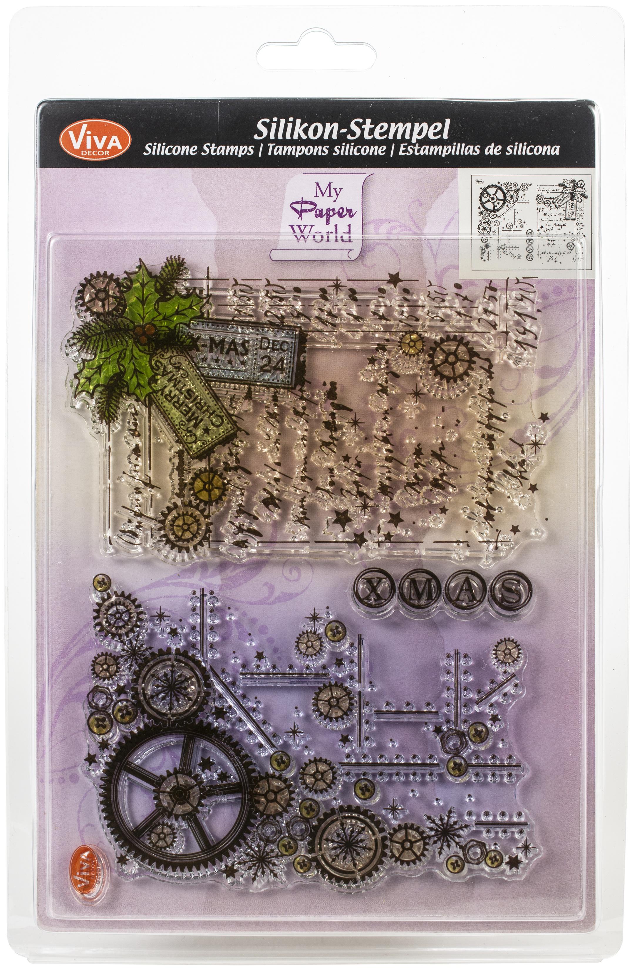 Viva Decor Clear Stamp Set 14cmX18cm-Gear Backgrounds