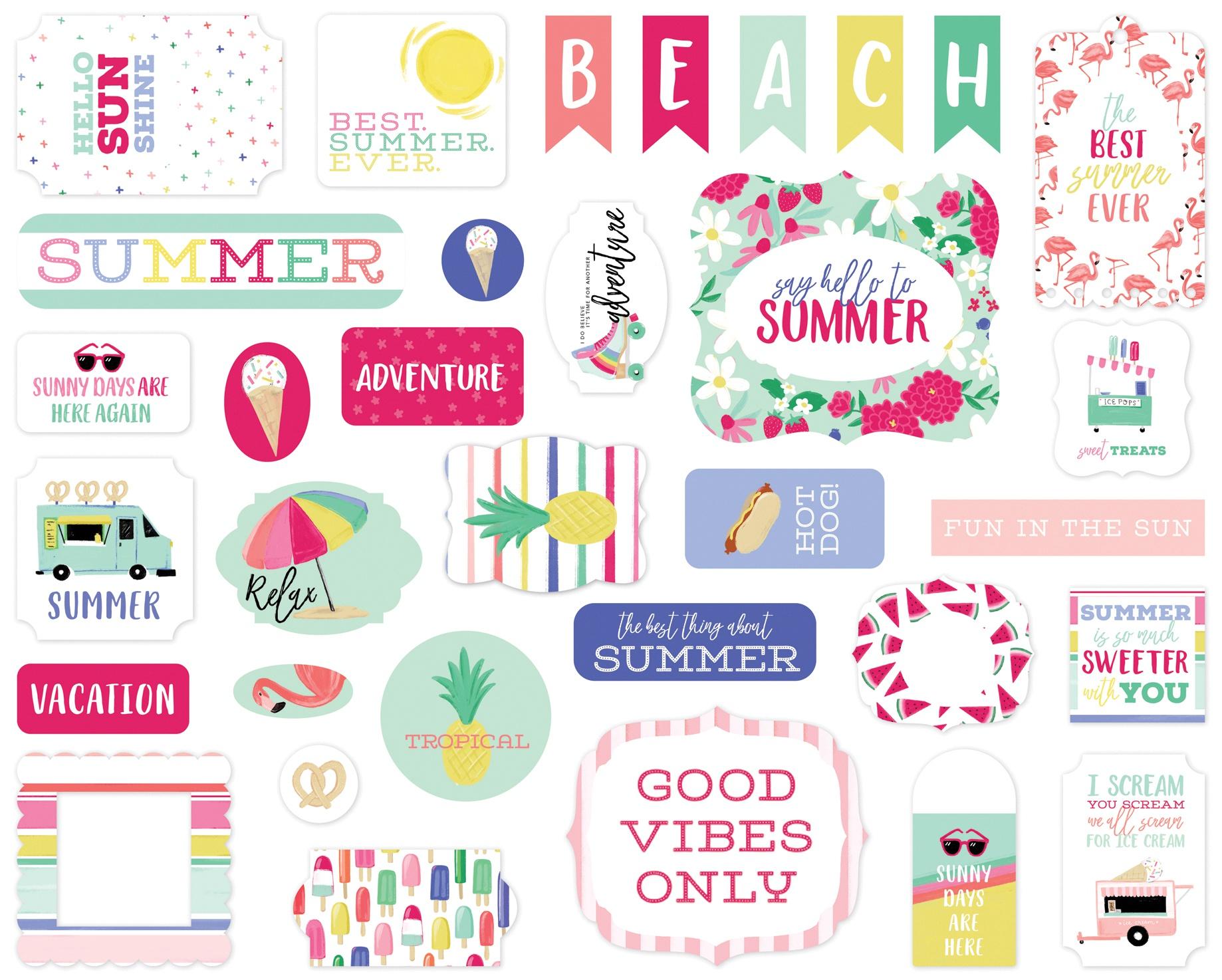 ^Best Summer Ever - Cardstock Ephemera, 33/Pkg (Echo Park)