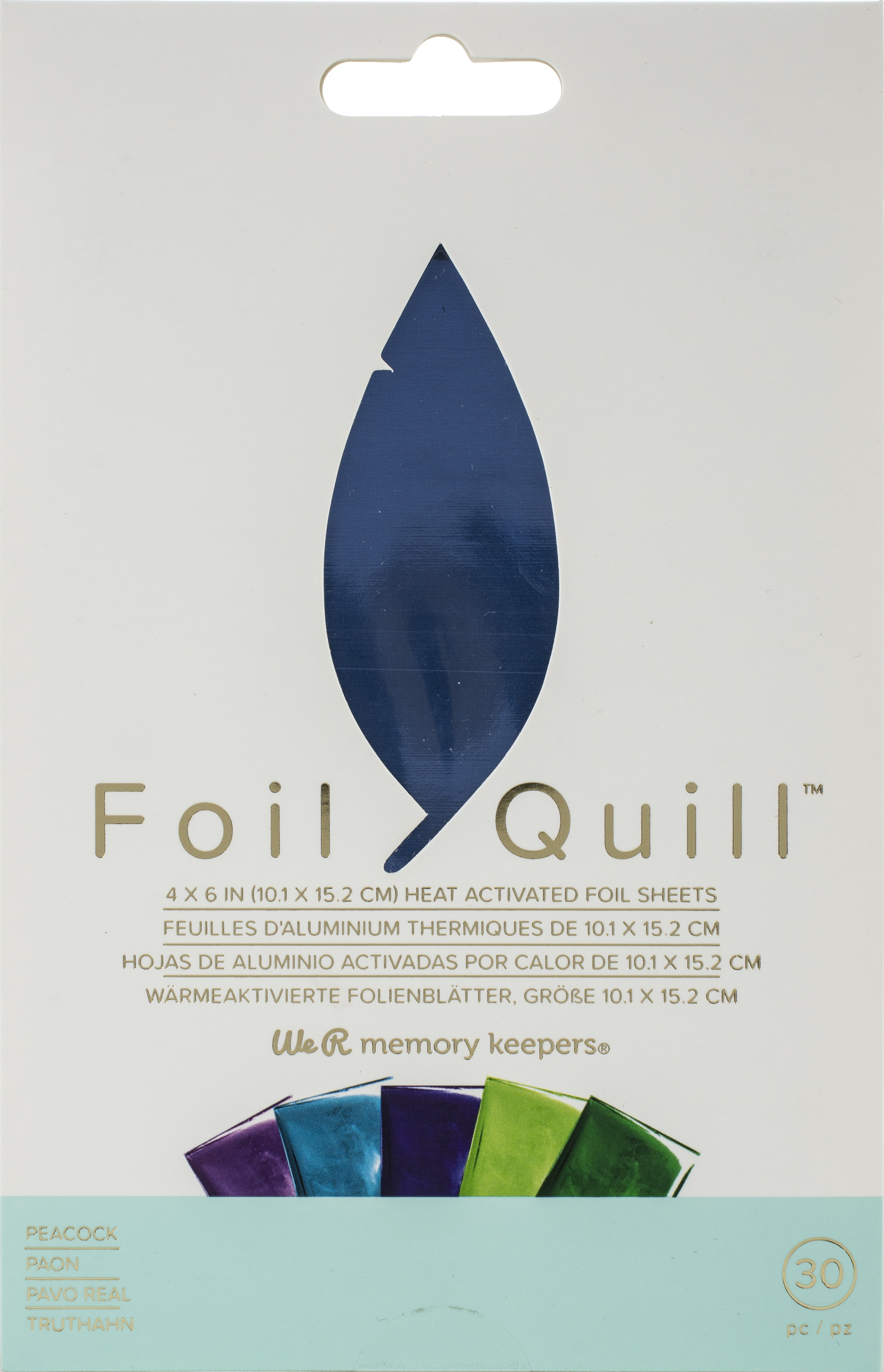 We R Memory Keepers Foil Quill Foil Sheets 4X6 30/Pkg-Peacock