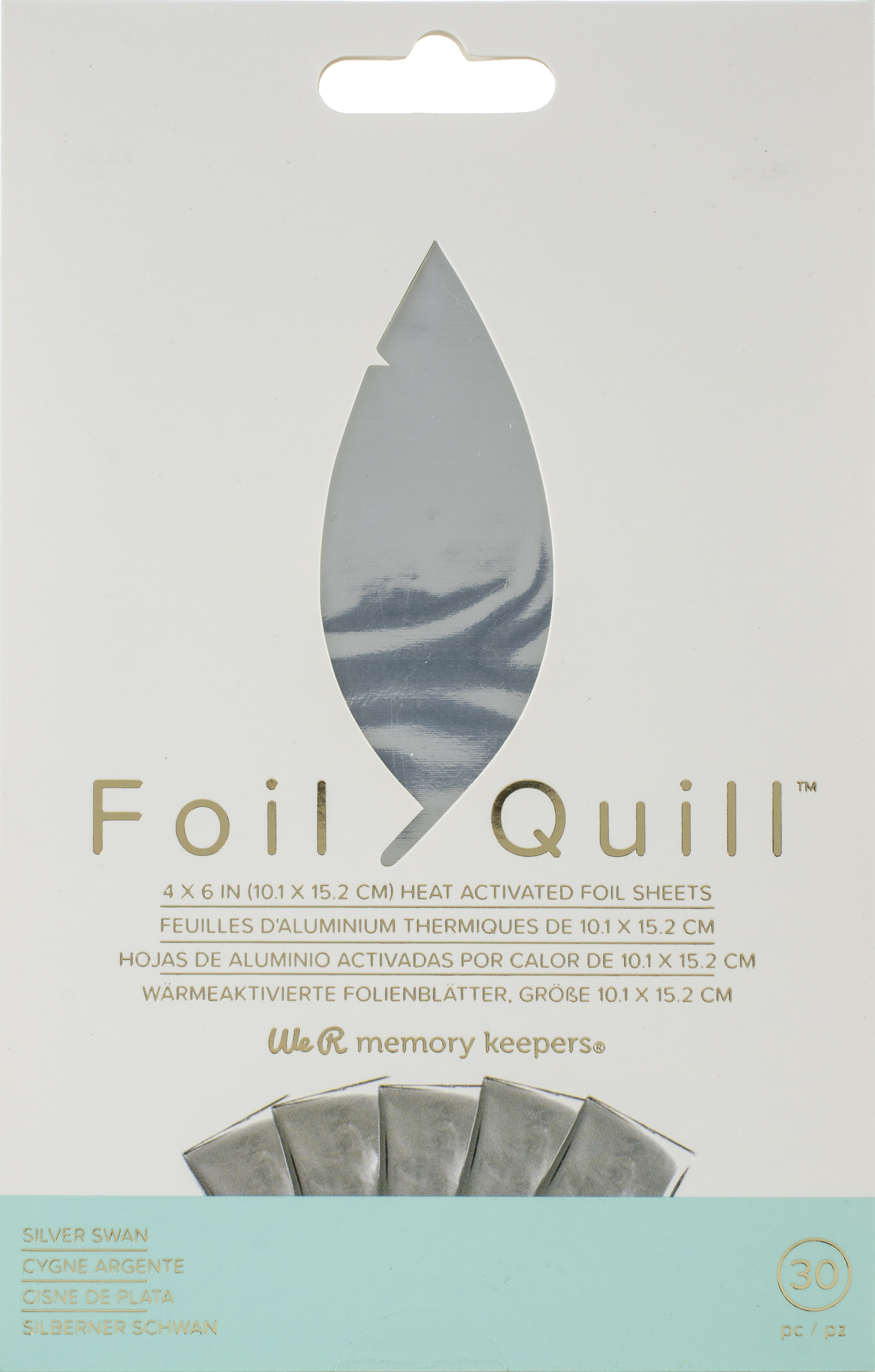 We R Memory Keepers Foil Quill Foil Sheets 4X6 30/Pkg-Silver Swan