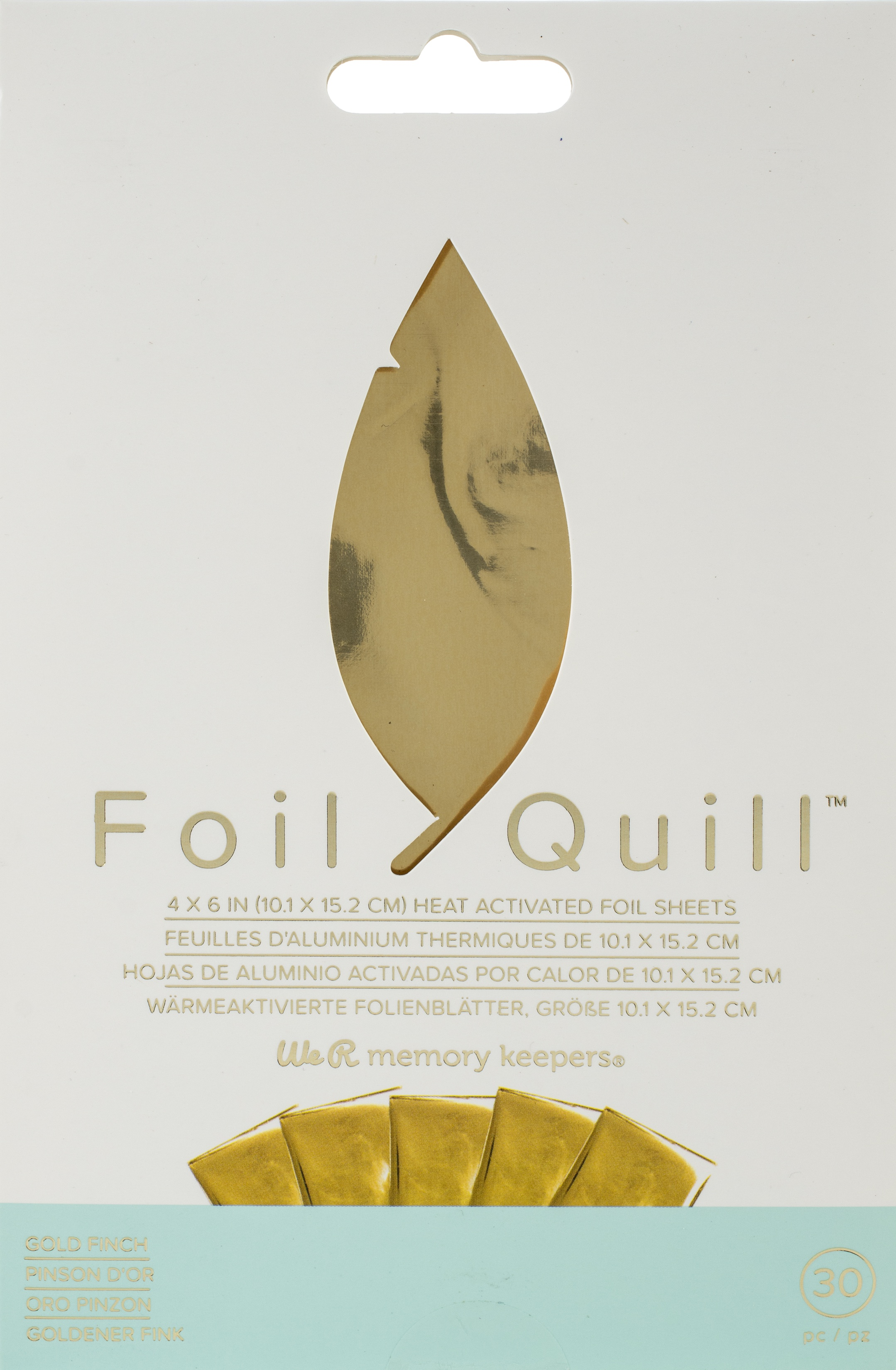 We R Memory Keepers Foil Quill Foil Sheets 4X6 30/Pkg-Gold Finch