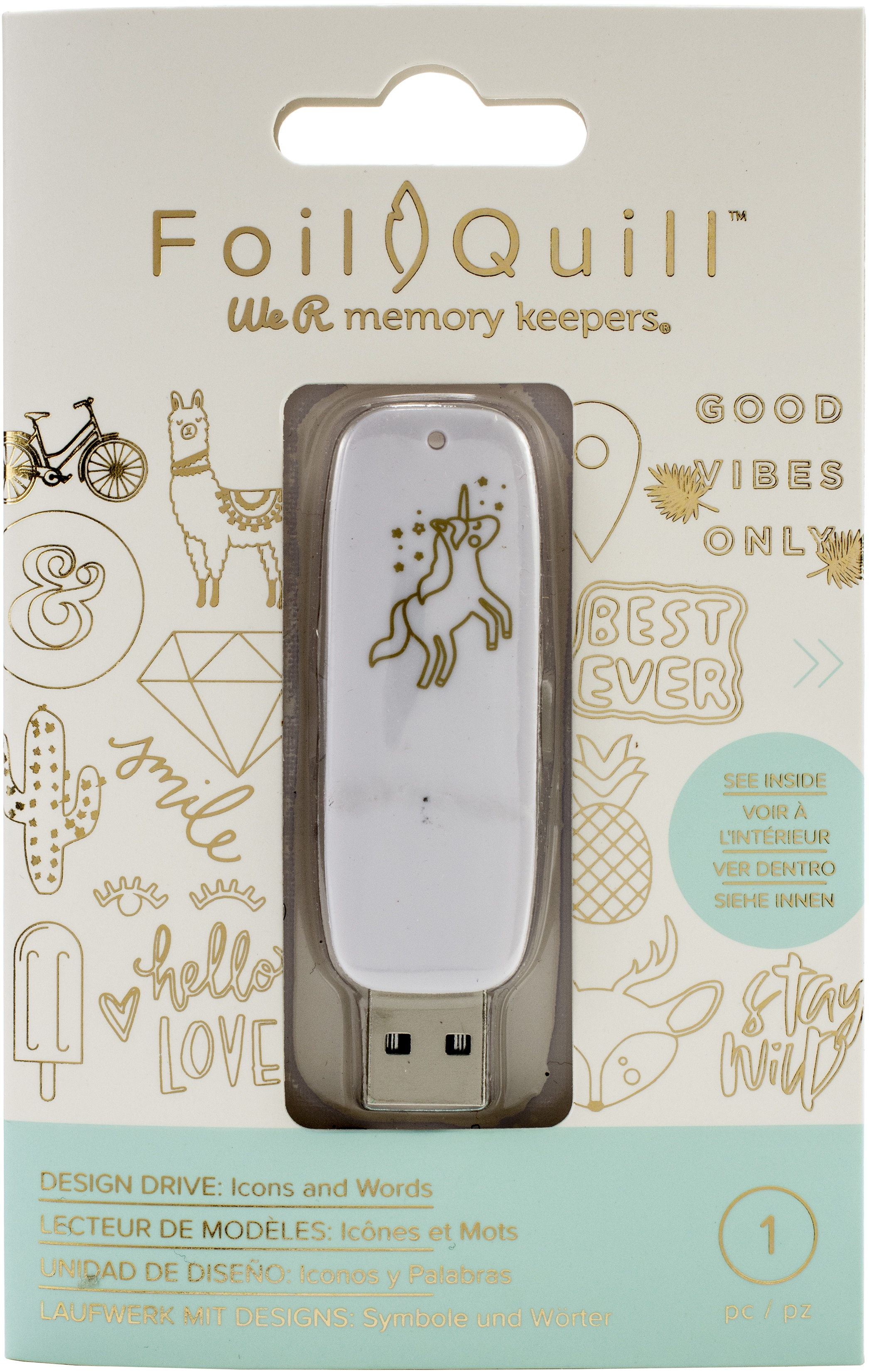 We R Memory Keepers Foil Quill USB Artwork Drive-Icons & Words