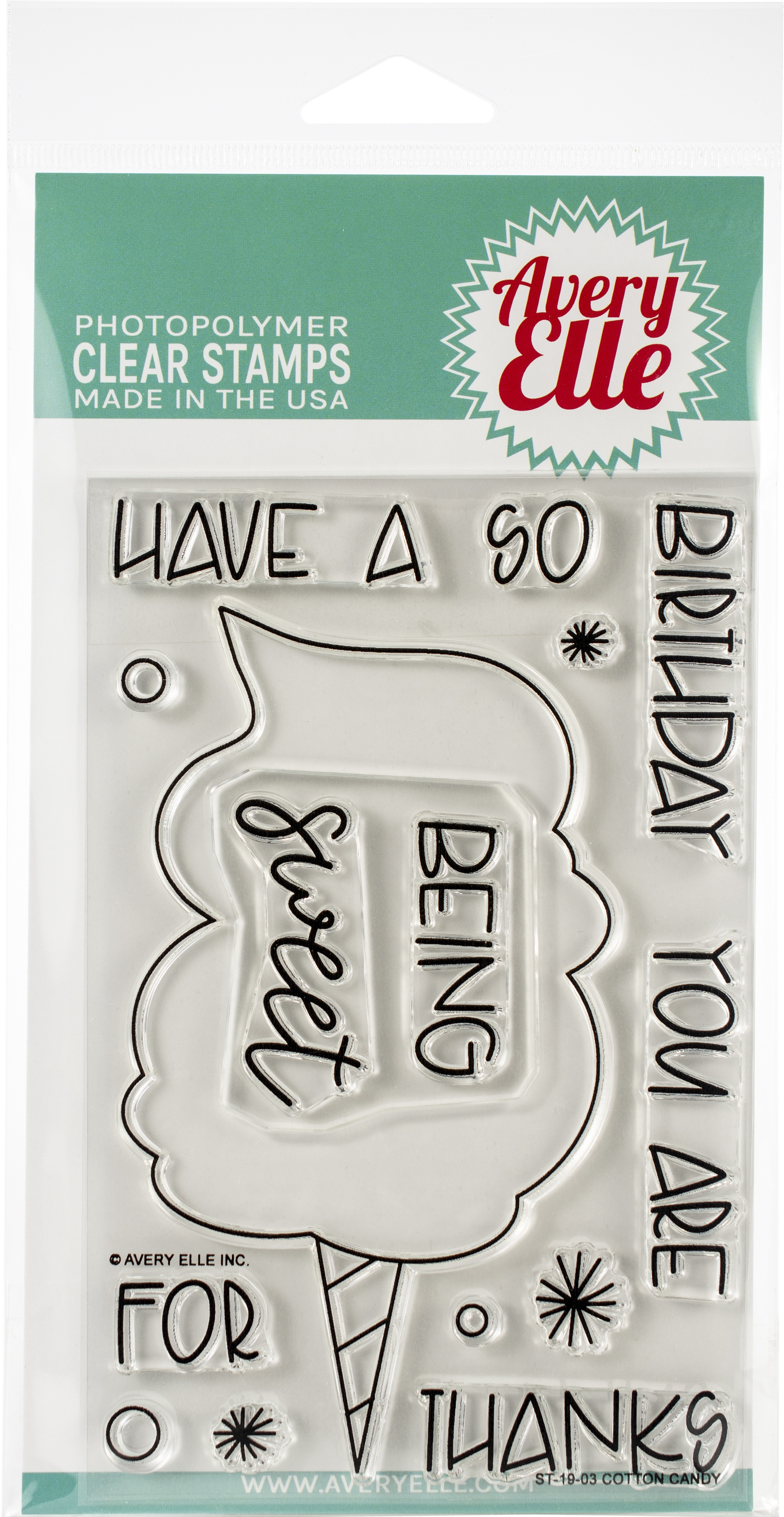 Avery Elle Clear Stamp Set 4X6-Cotton Candy