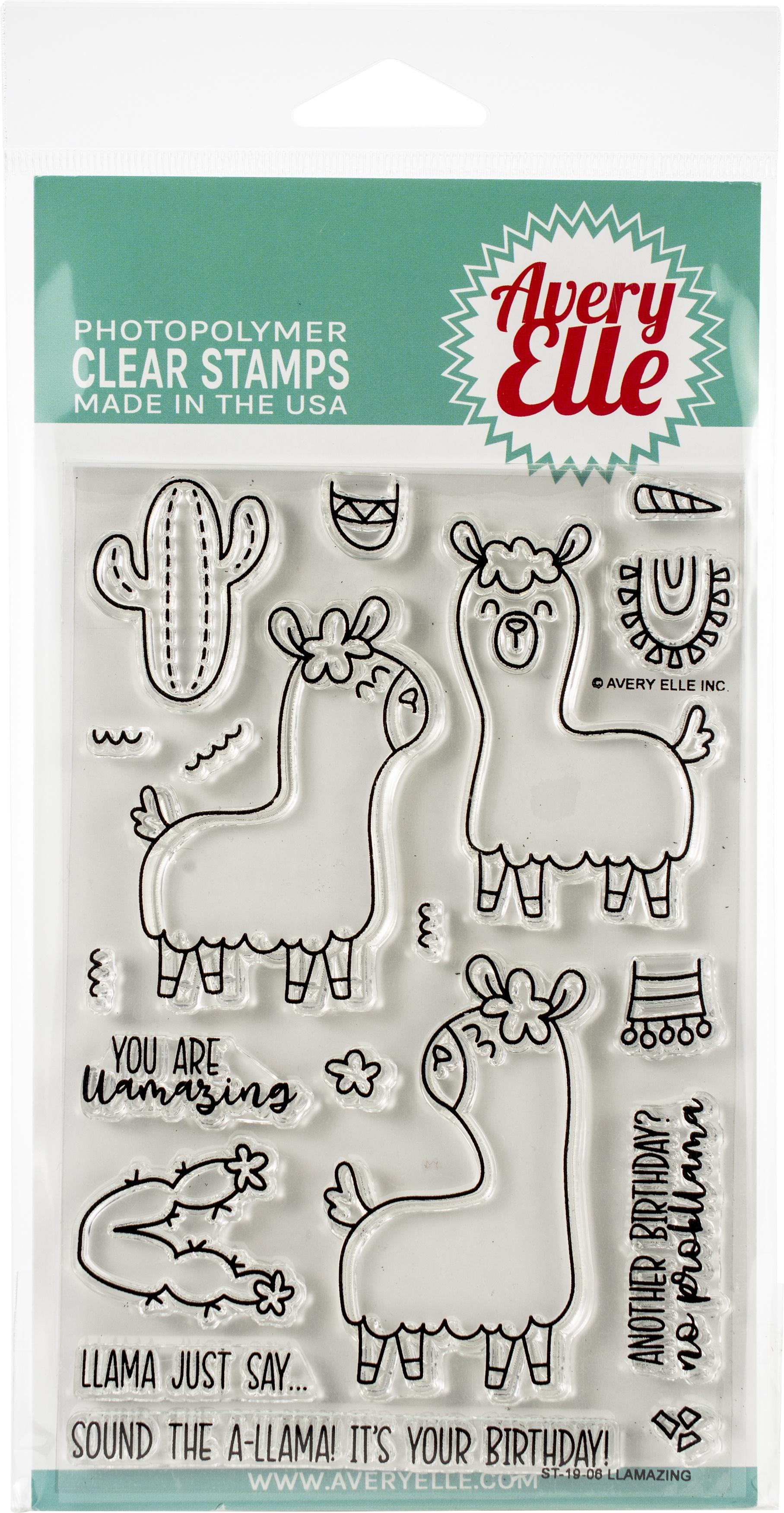 Avery Elle Clear Stamp Set 4X6-Llamazing