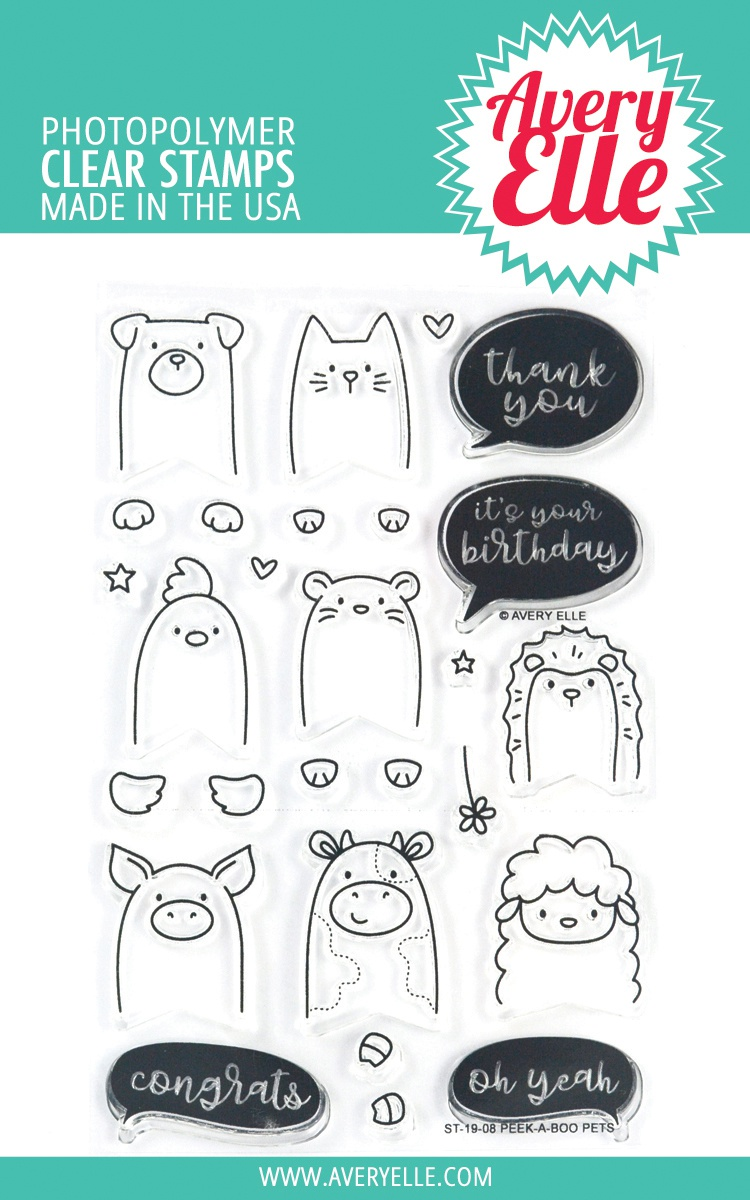 Avery Elle Clear Stamps - Peek-A-Boo Pets