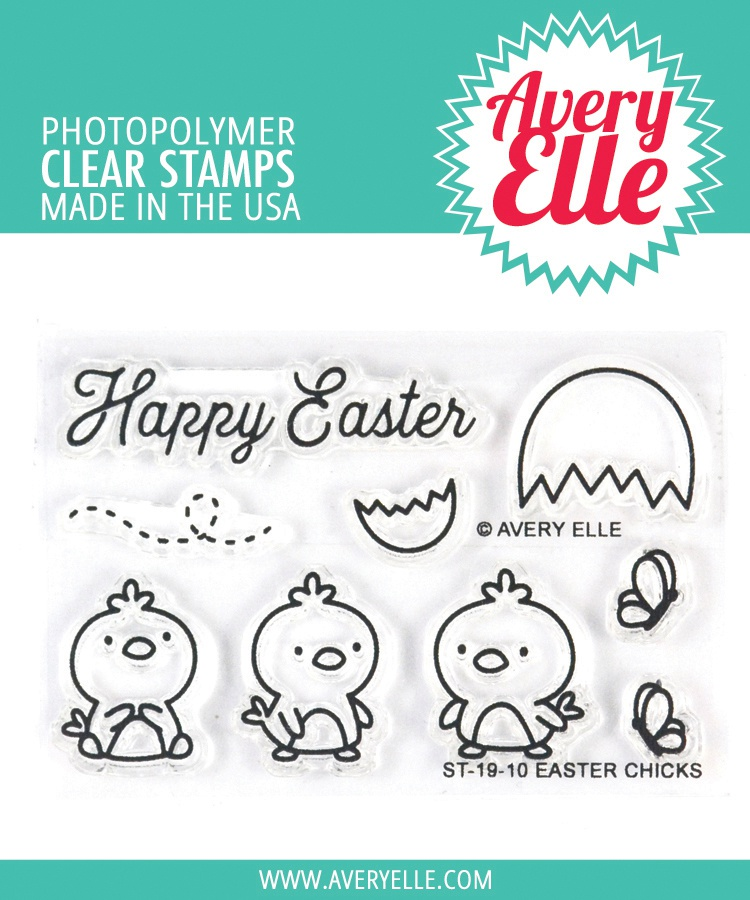 Avery Elle Clear Stamp Set 2X3-Easter Chicks