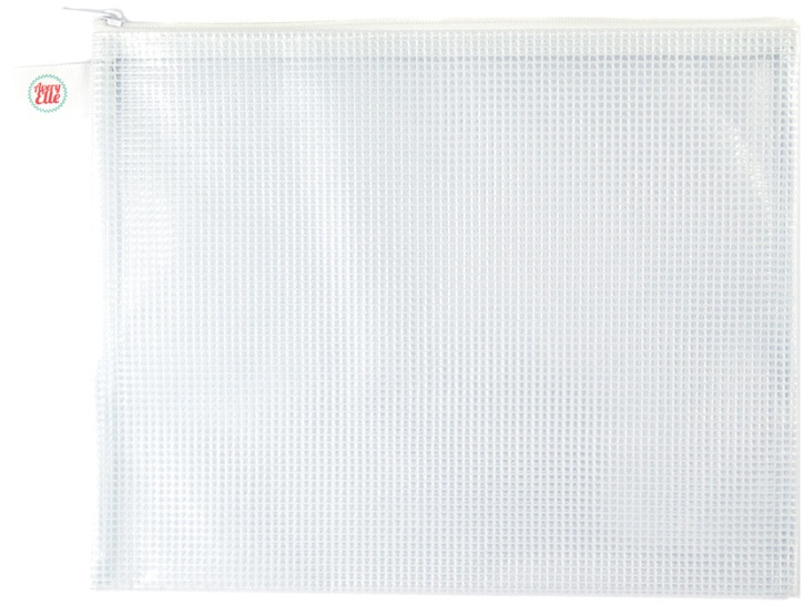 Avery Elle Zippered Vinyl Mesh Pouch White-Small
