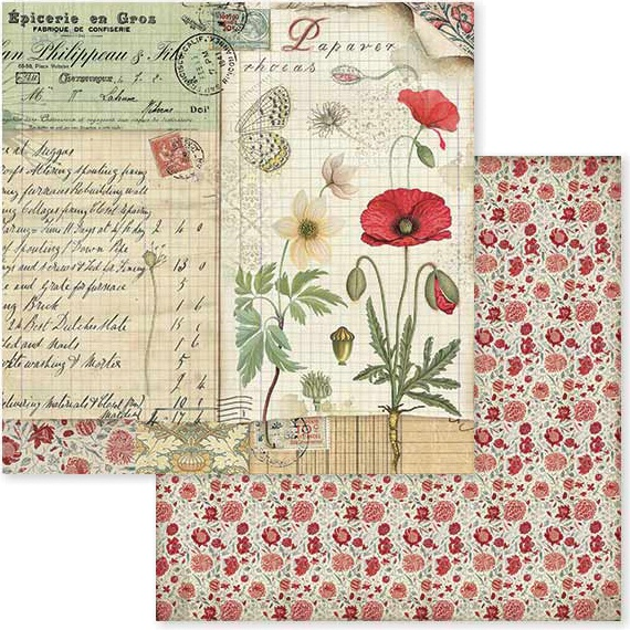 Stamperia Double-Sided Cardstock 12X12-Spring Botanic W/Poppy & Butterfly