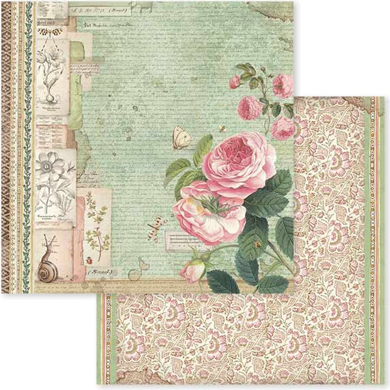 Stamperia Double-Sided Cardstock 12X12-Spring Botanic English Roses W/Snail