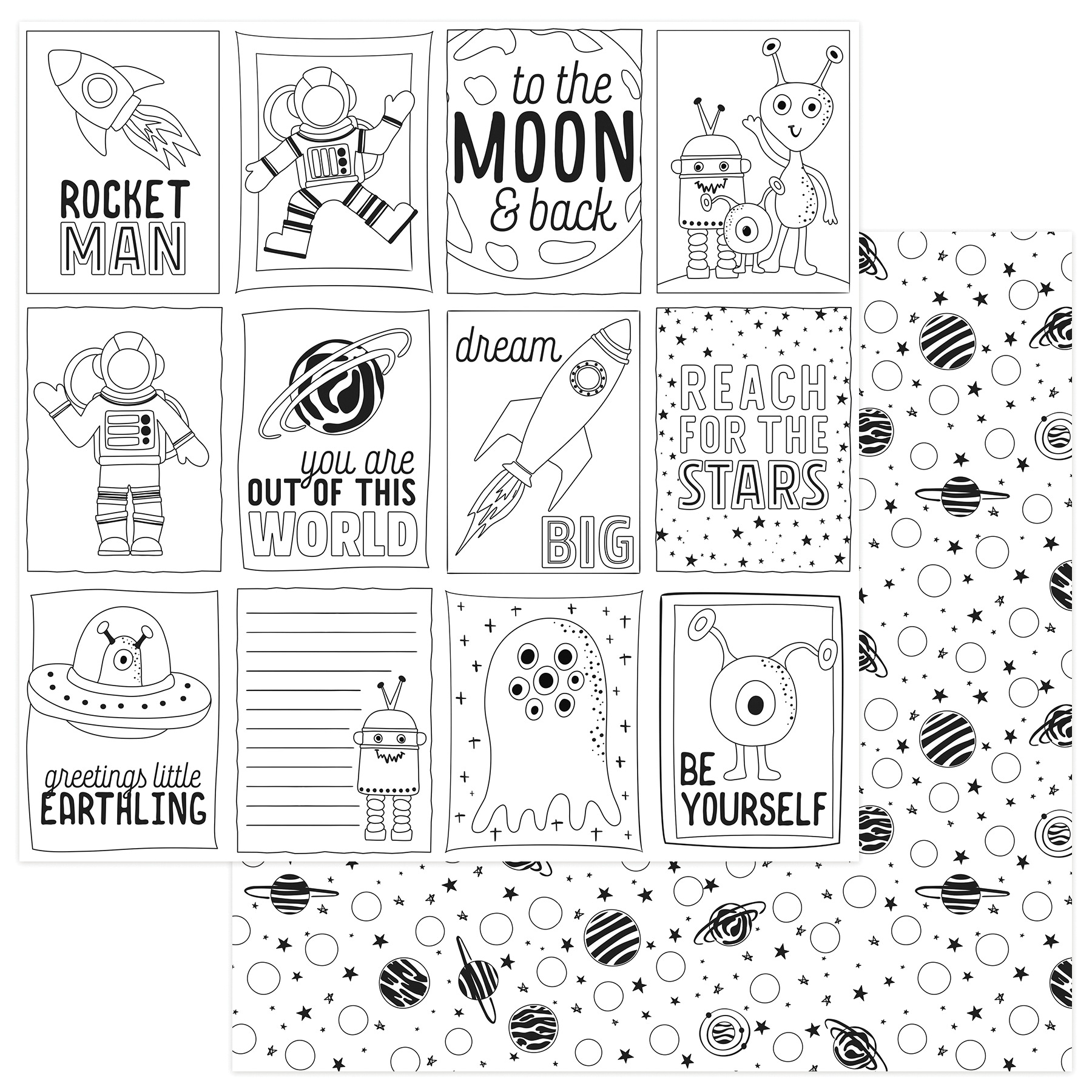To The Moon And Back Double-Sided Cardstock 12X12-Black & White Color Me Cards