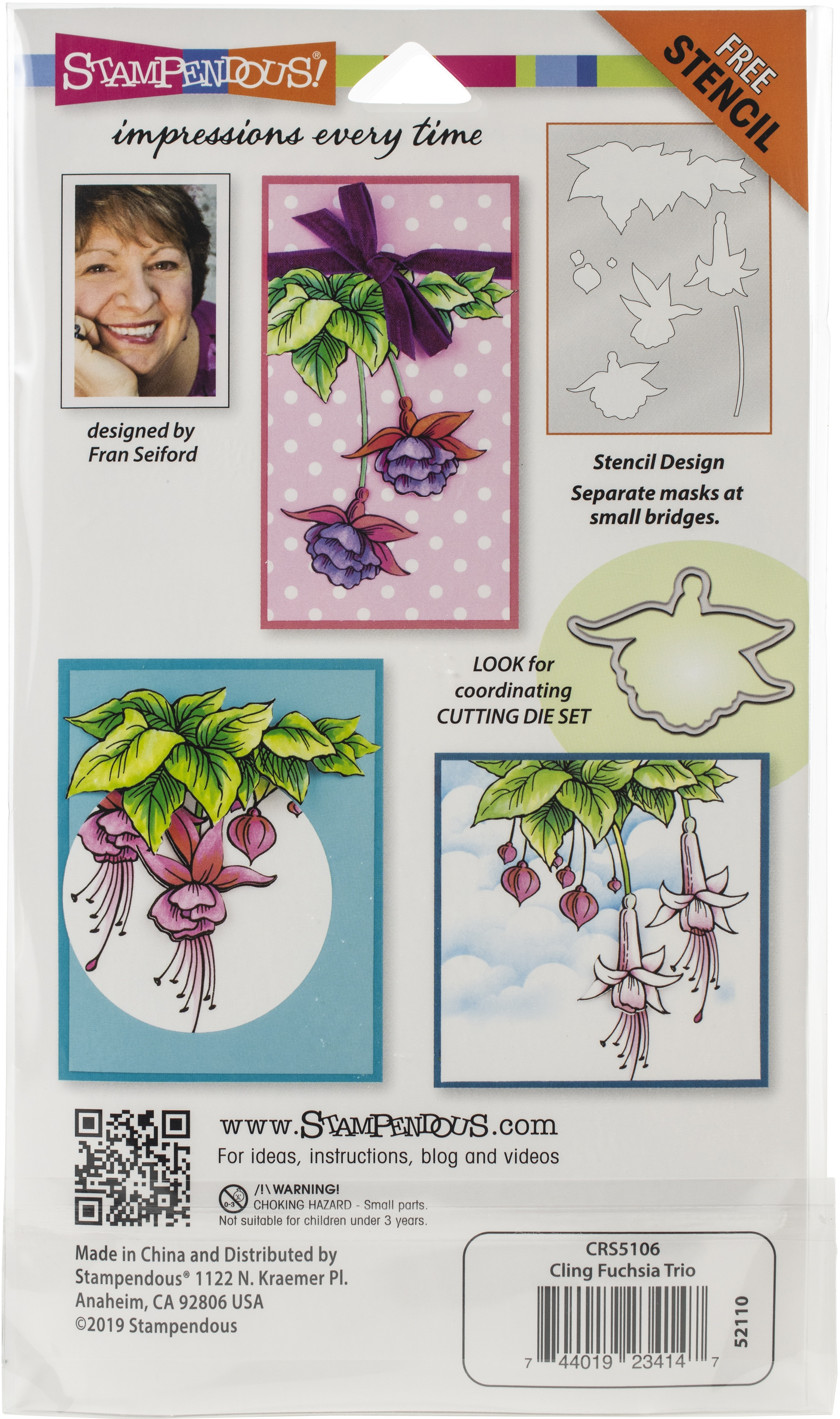 Stampendous Cling Stamp W/ Template Set-Fuchsia Trio