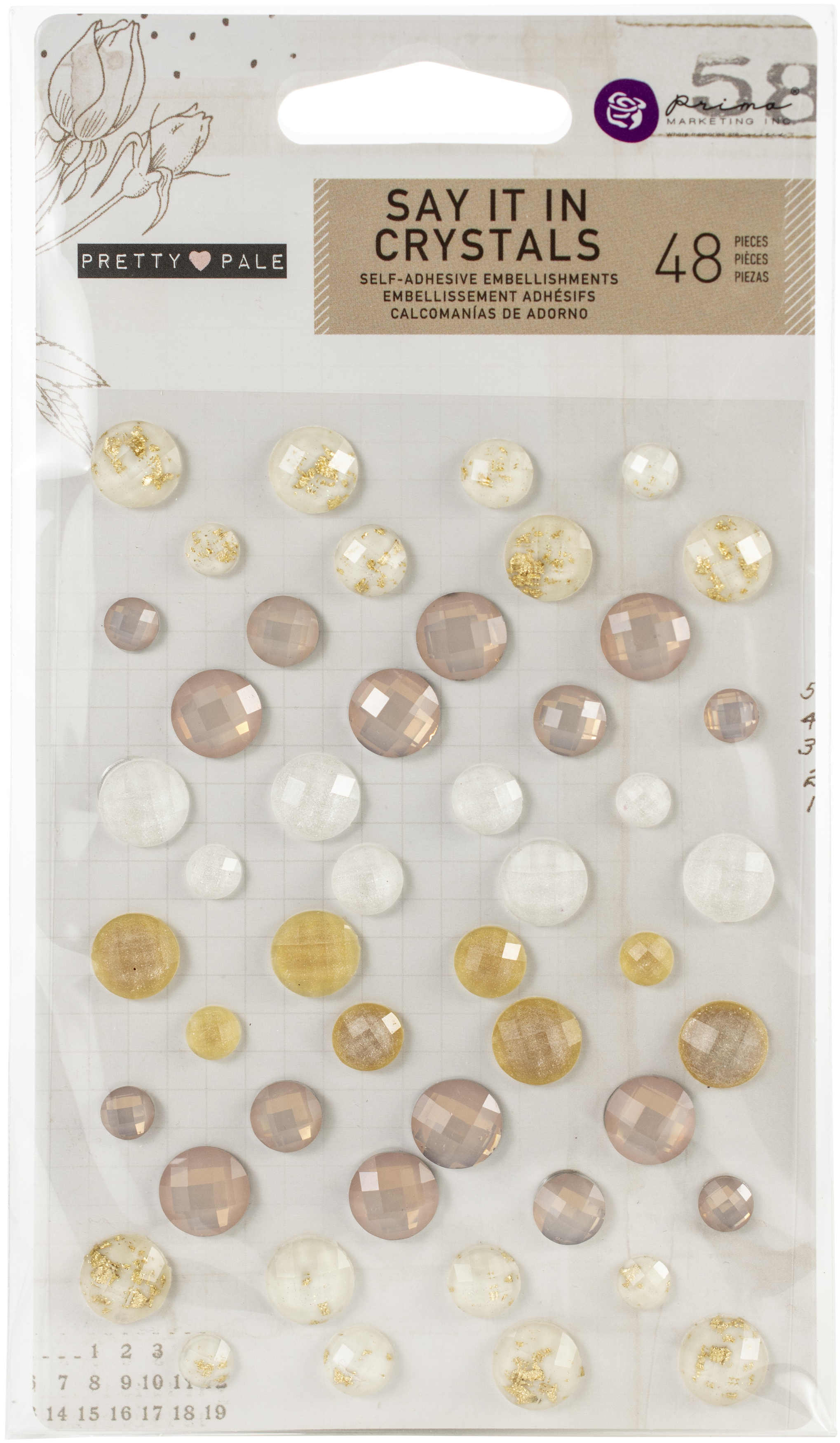 Pretty Pale Say It In Crystals Adhesive Embellishments-Assorted Dots 48/Pkg