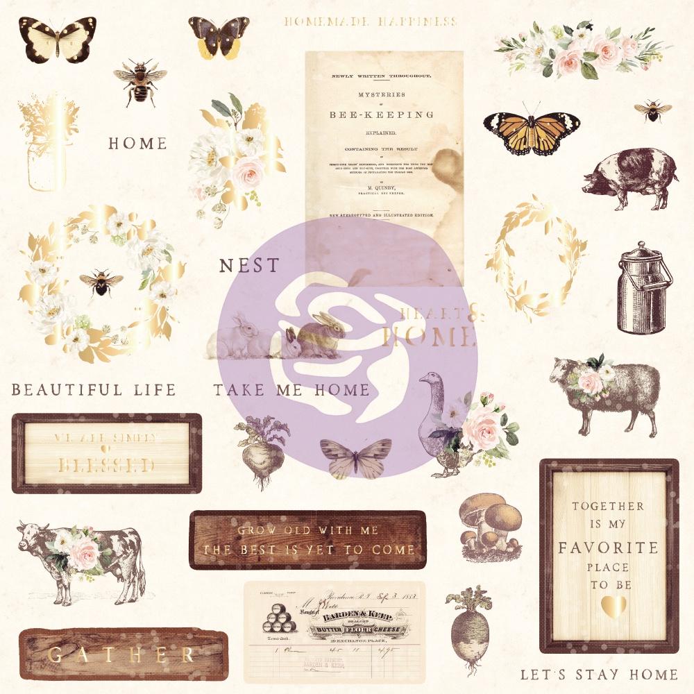 Spring Farmhouse Ephemera Cardstock Die-Cuts 33/Pkg-Shapes, Tags, Words, Foiled ...