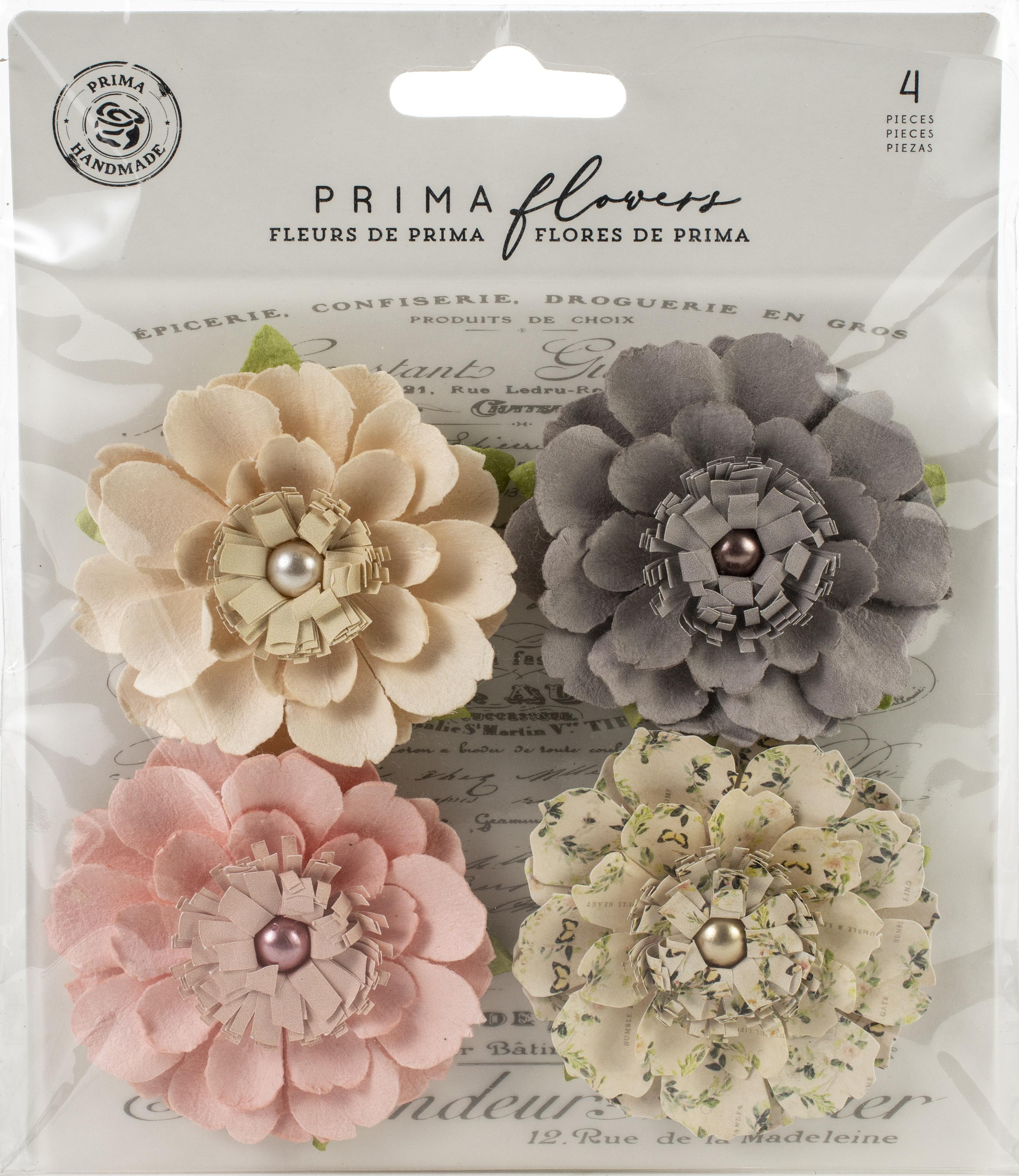Prima Marketing Mulberry Paper Flowers  -Heart & Home/Spring Farmhouse, 4/Pkg